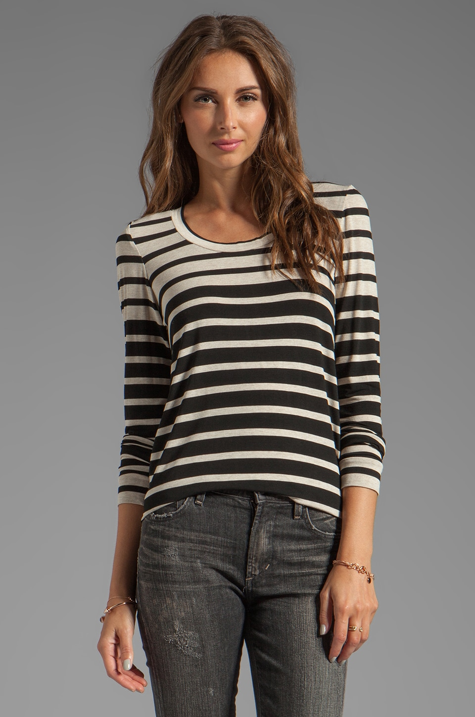 Whetherly Engineered Stripe Rosewood Long Sleeve in Beige/Black