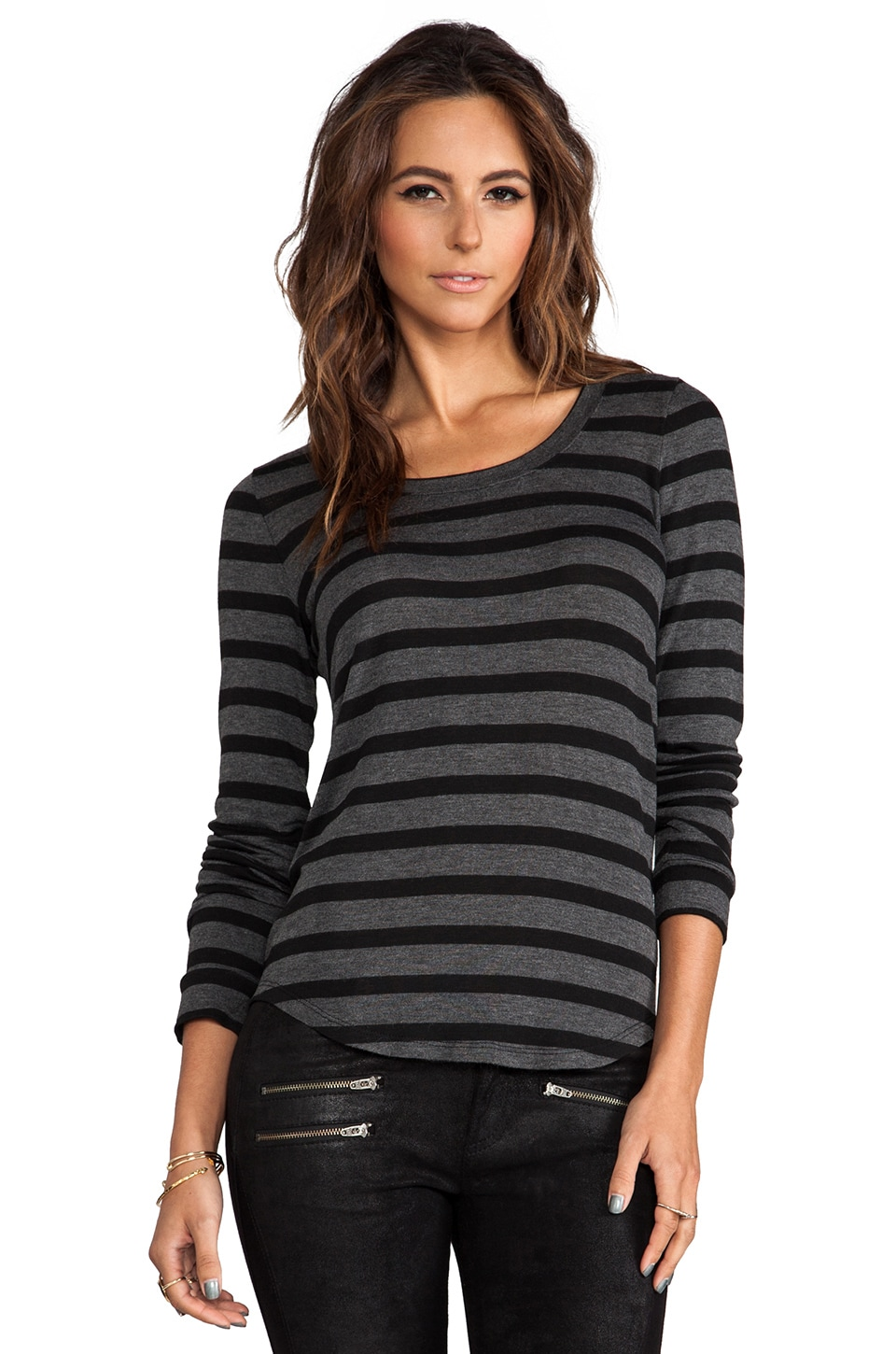 Whetherly Bateau Stripe Rosewood Long Sleeve in Grey/Black