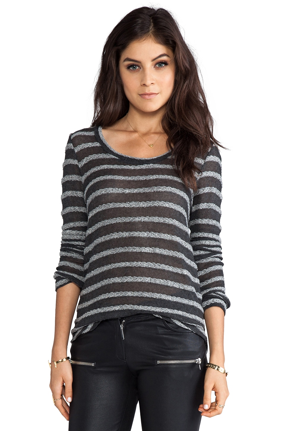 Whetherly Braided Sweater Rosewood Long Sleeve in Charcoal