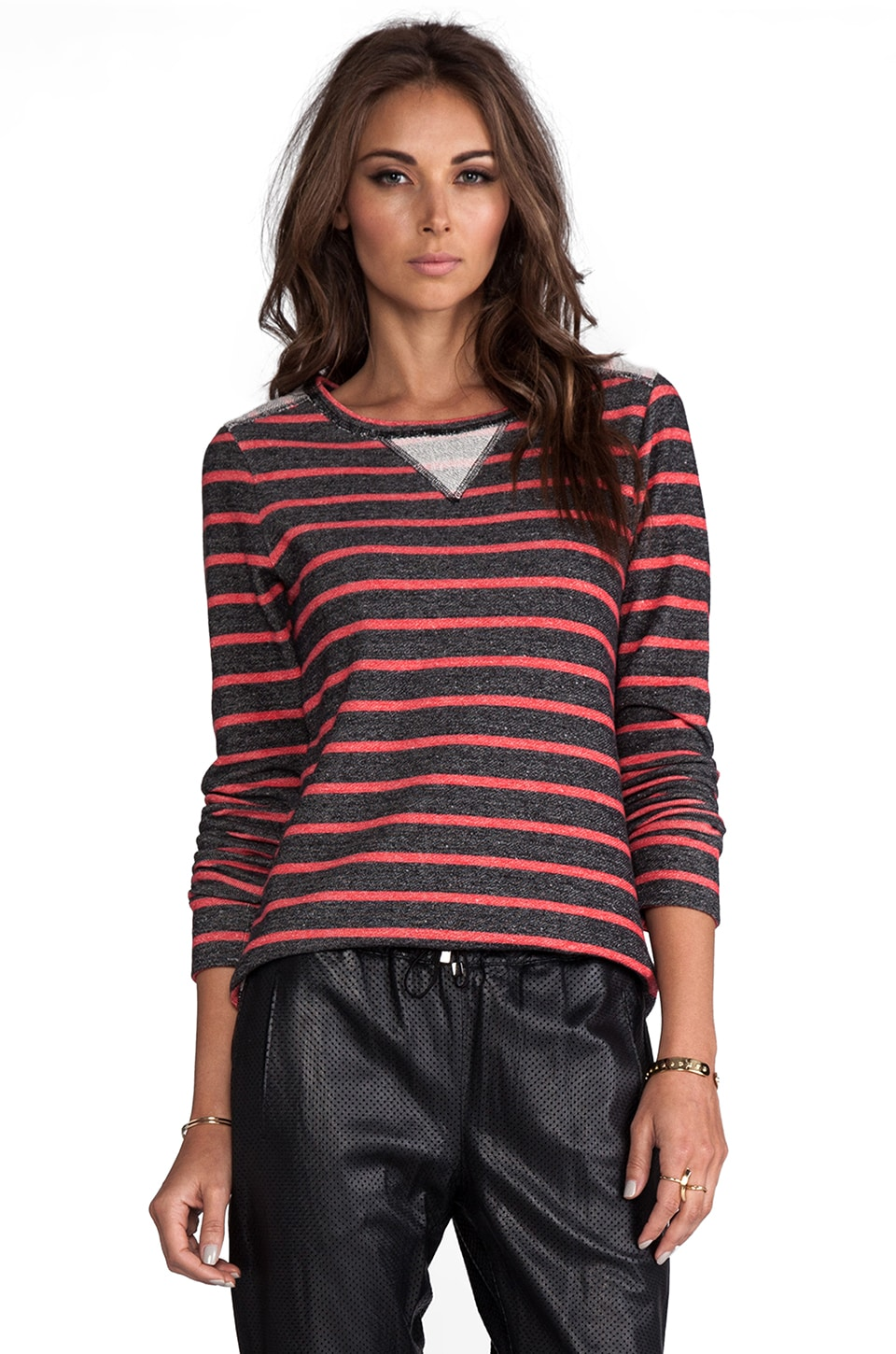 Whetherly Stripe Jordan Long Sleeve en Noir/Rouge