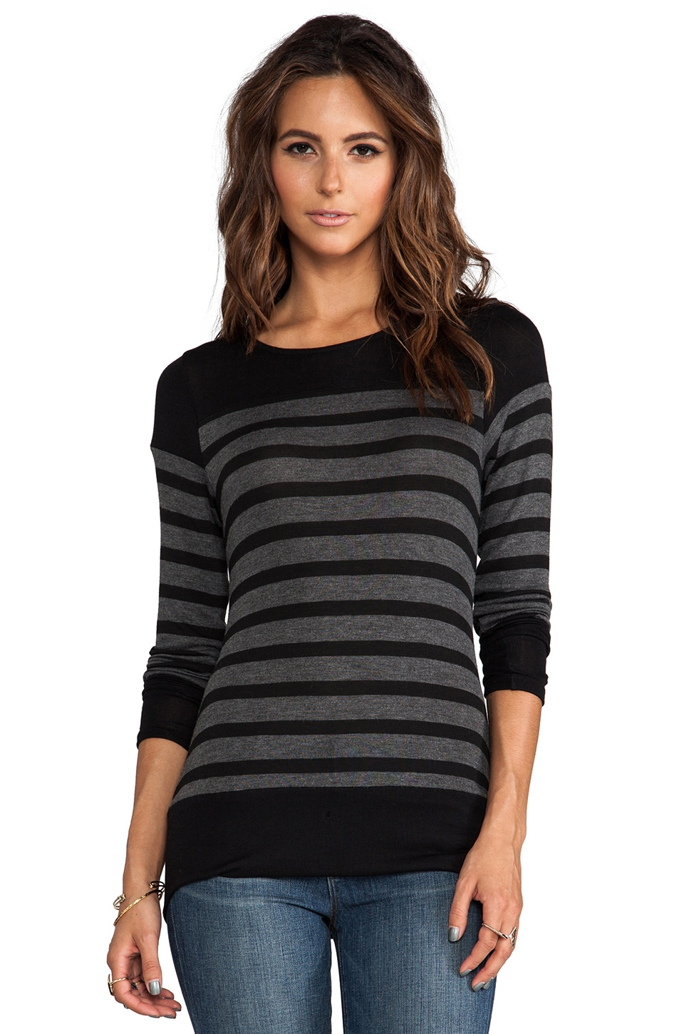 Whetherly Bateau Stripe Anthony Long Sleeve in Grey/Black