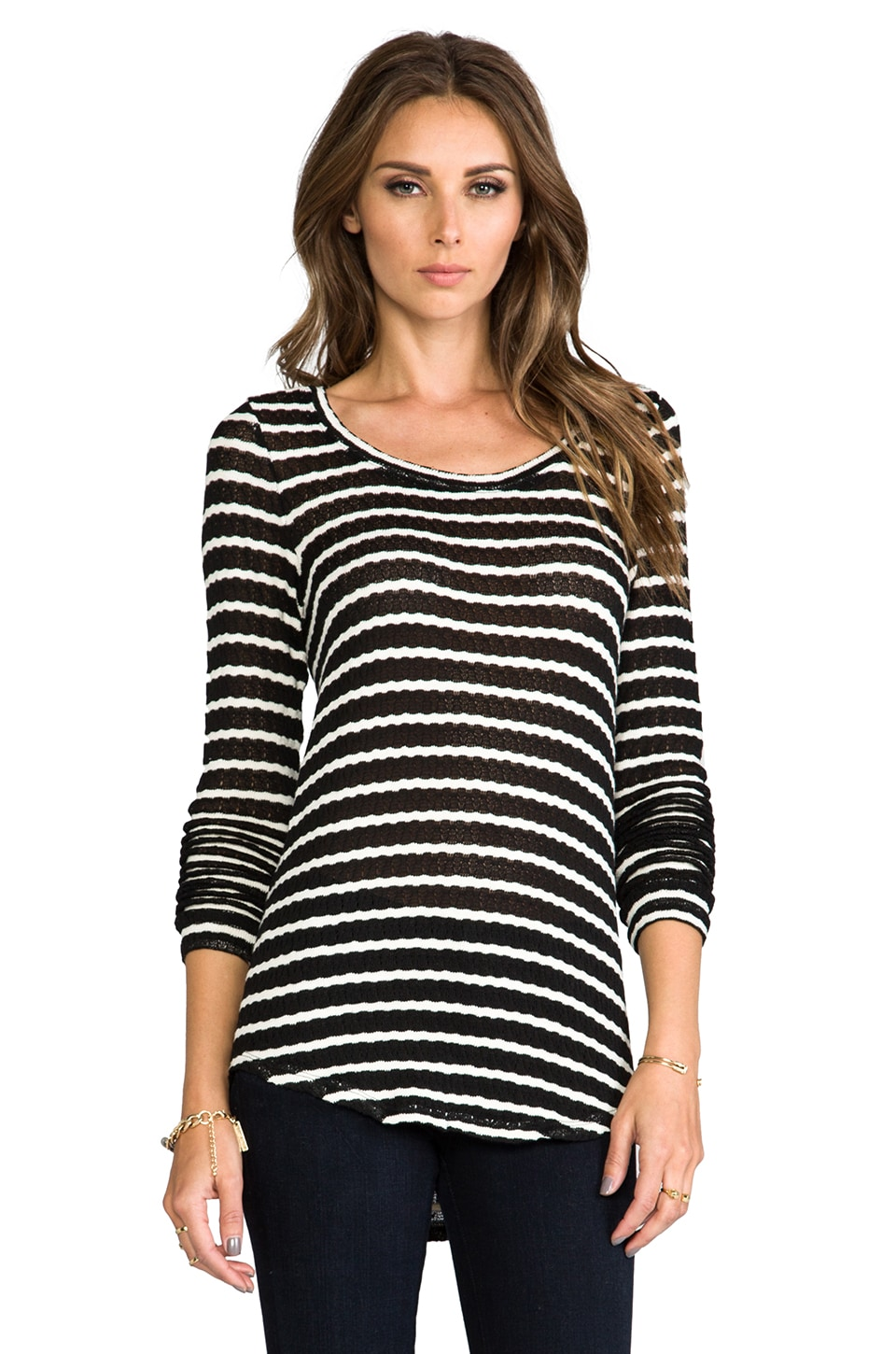 Whetherly Rib Stripe Rosewood Top in Black/Creme