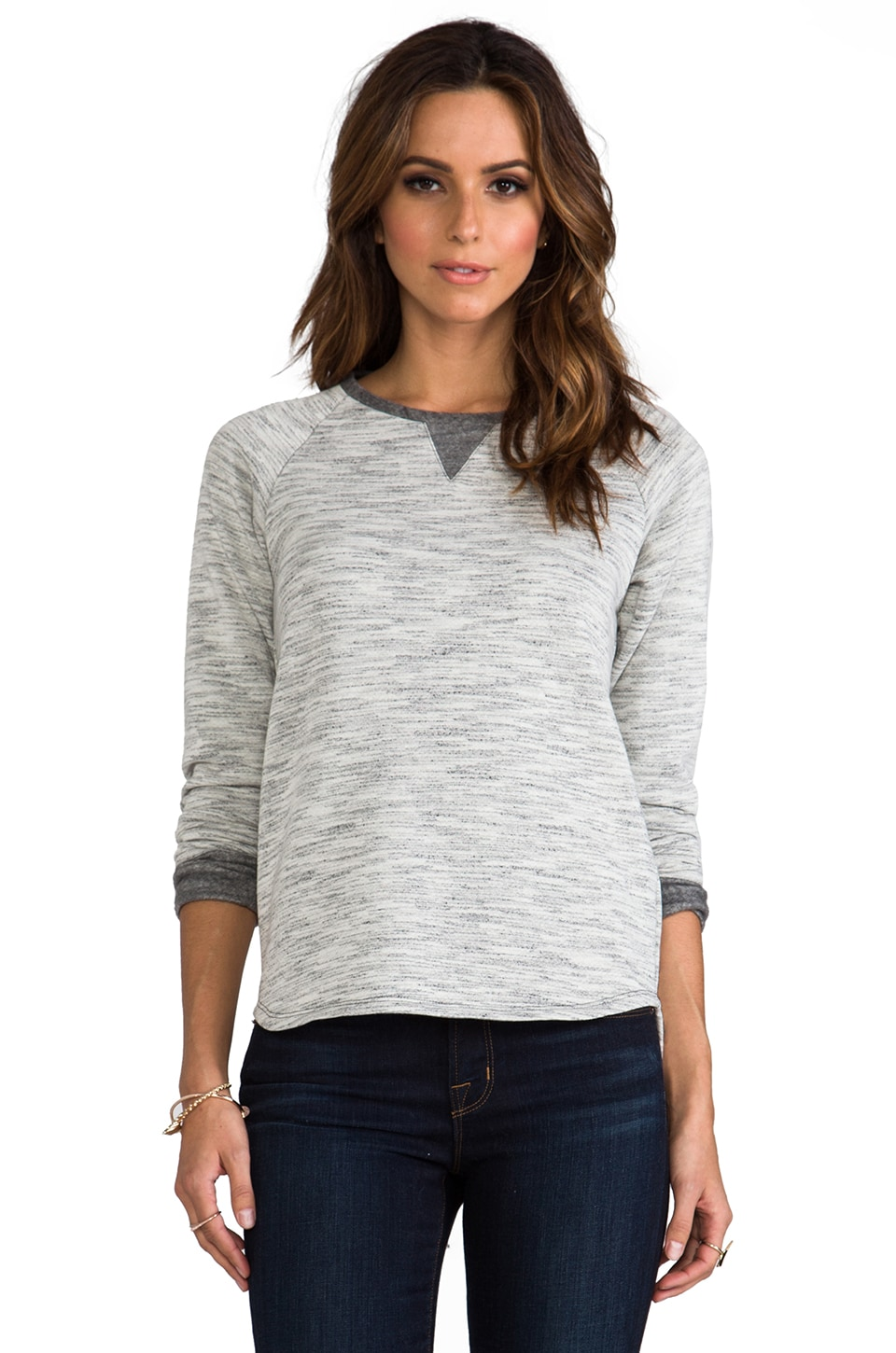 Whetherly Space Dye Jade Long Sleeve in Grey/Creme