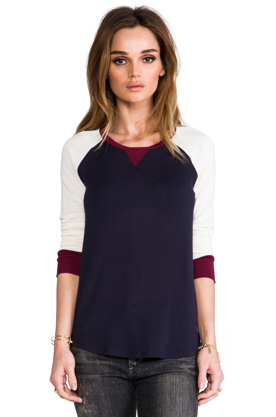 Whetherly Colorblock Jade Baseball Tee en Navy/Creme/Merlot