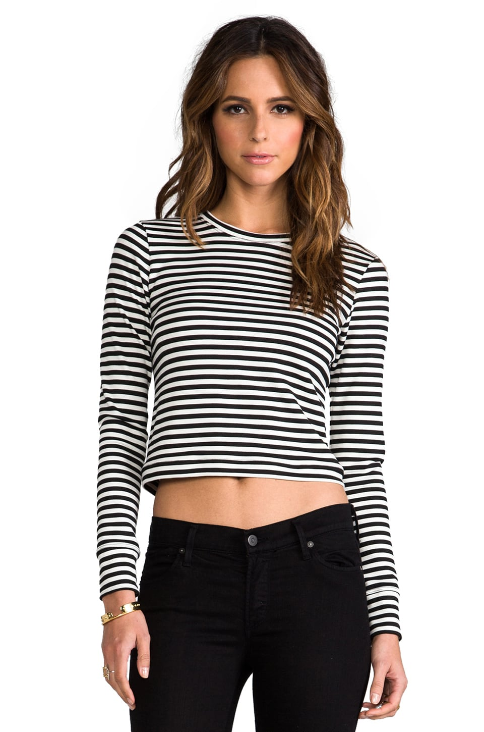 Whetherly Audrey Stripe Long Sleeve Tee in Black/White