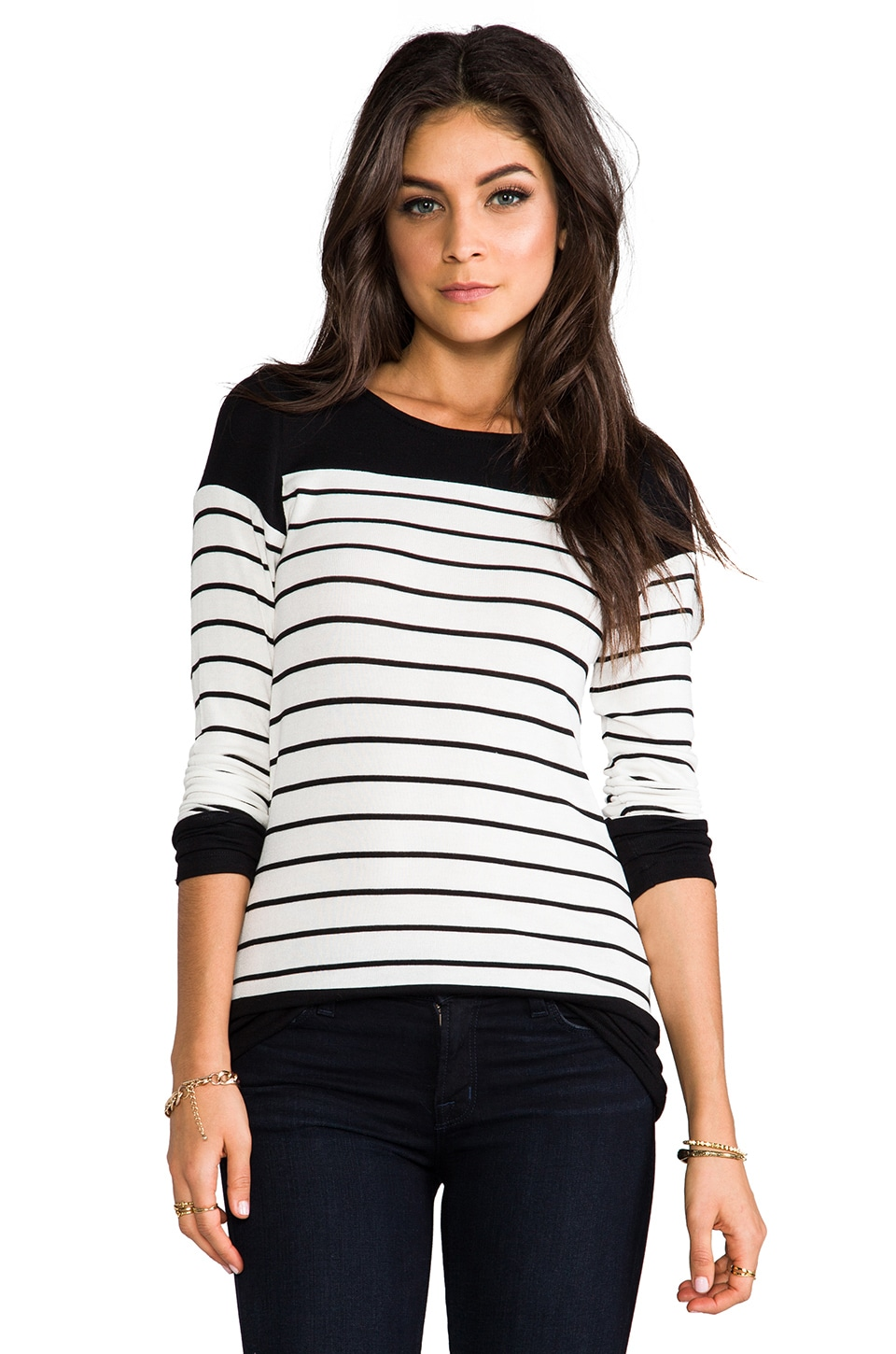 Whetherly Anthony Stripe Long Sleeve in Creme/Black