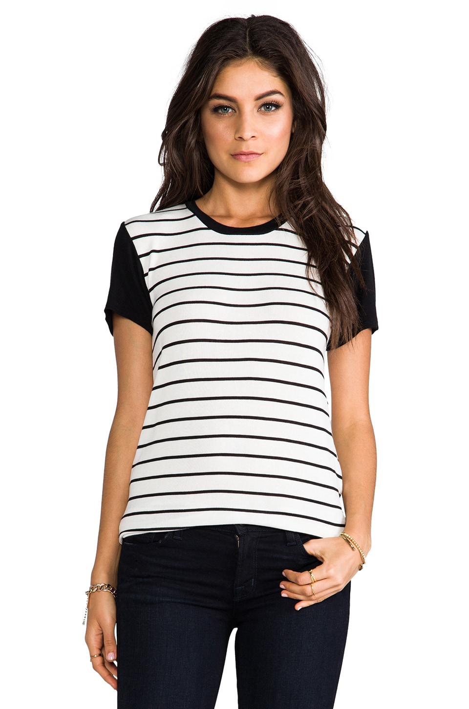 Whetherly Allen Stripe Tee in Creme/Black