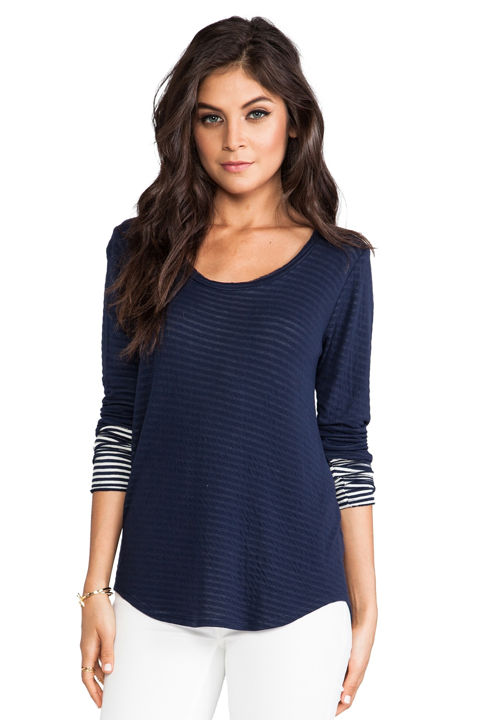 Whetherly Double Jersey Raw Gael Long Sleeve Top in Navy & Creme