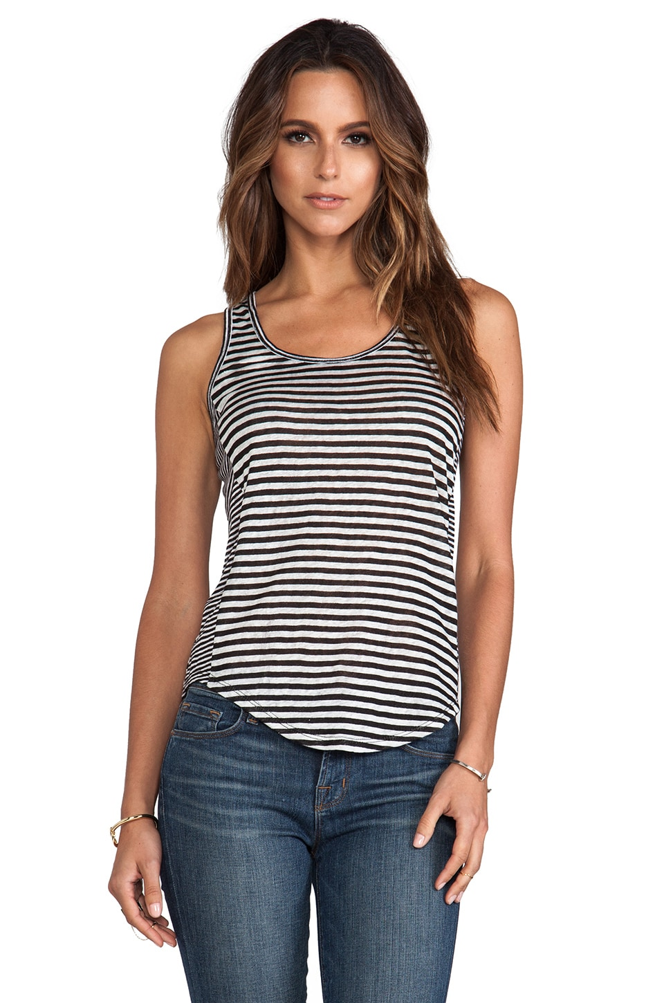 Whetherly Linen Stripe Ashley Tank in Black & White