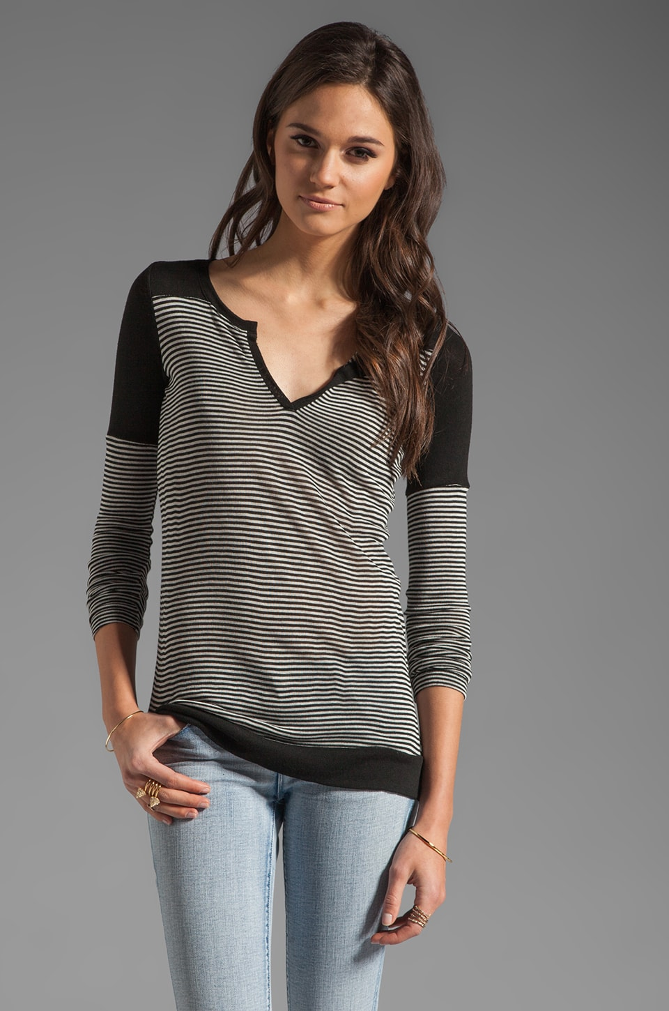 Whetherly Carson Top in Black/Grey