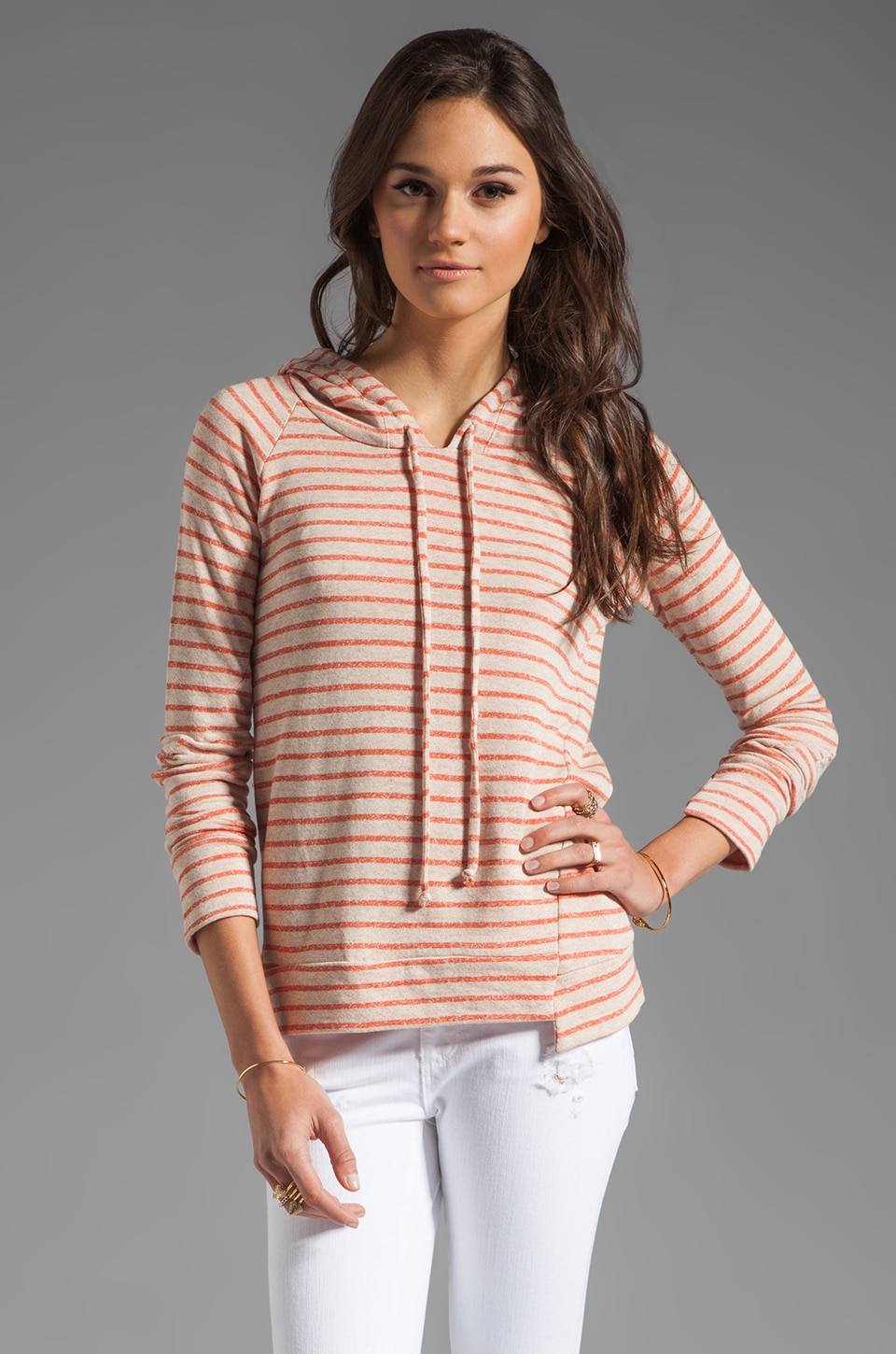 Whetherly Andrea French Terry Top in Orange/Oatmeal