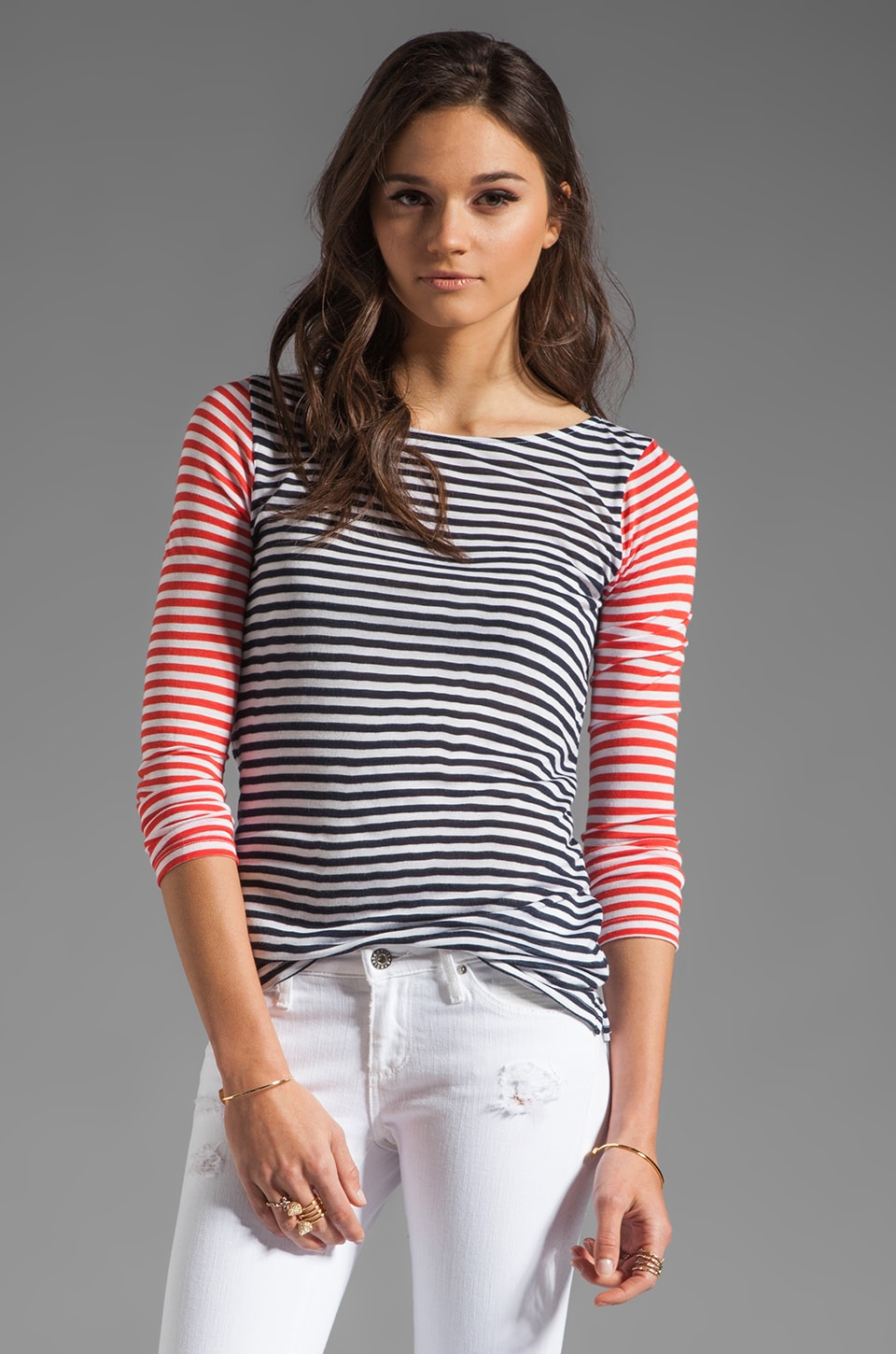 Whetherly Chace Nautical Stripe Top in Navy/Orange