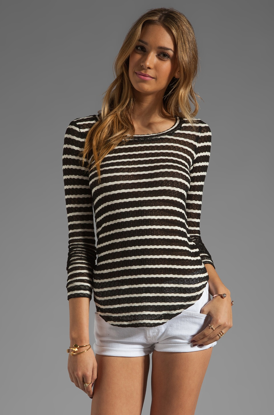Whetherly Rosewood Rib Stripe Tee in Black/Cream
