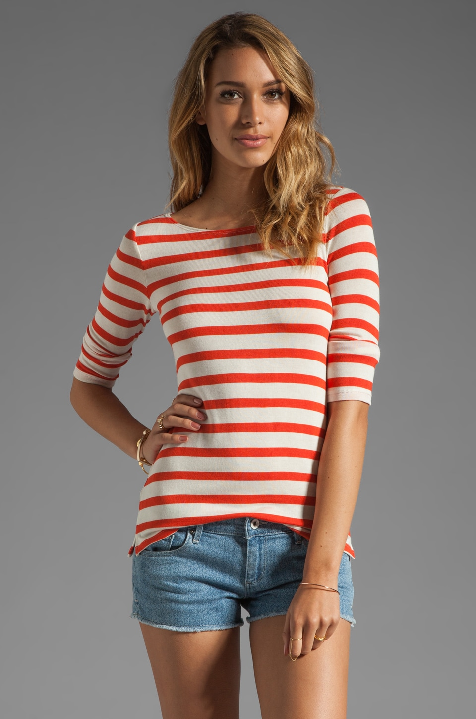 Whetherly Ricky Bateau Stripe Tee in Tomato/Creme
