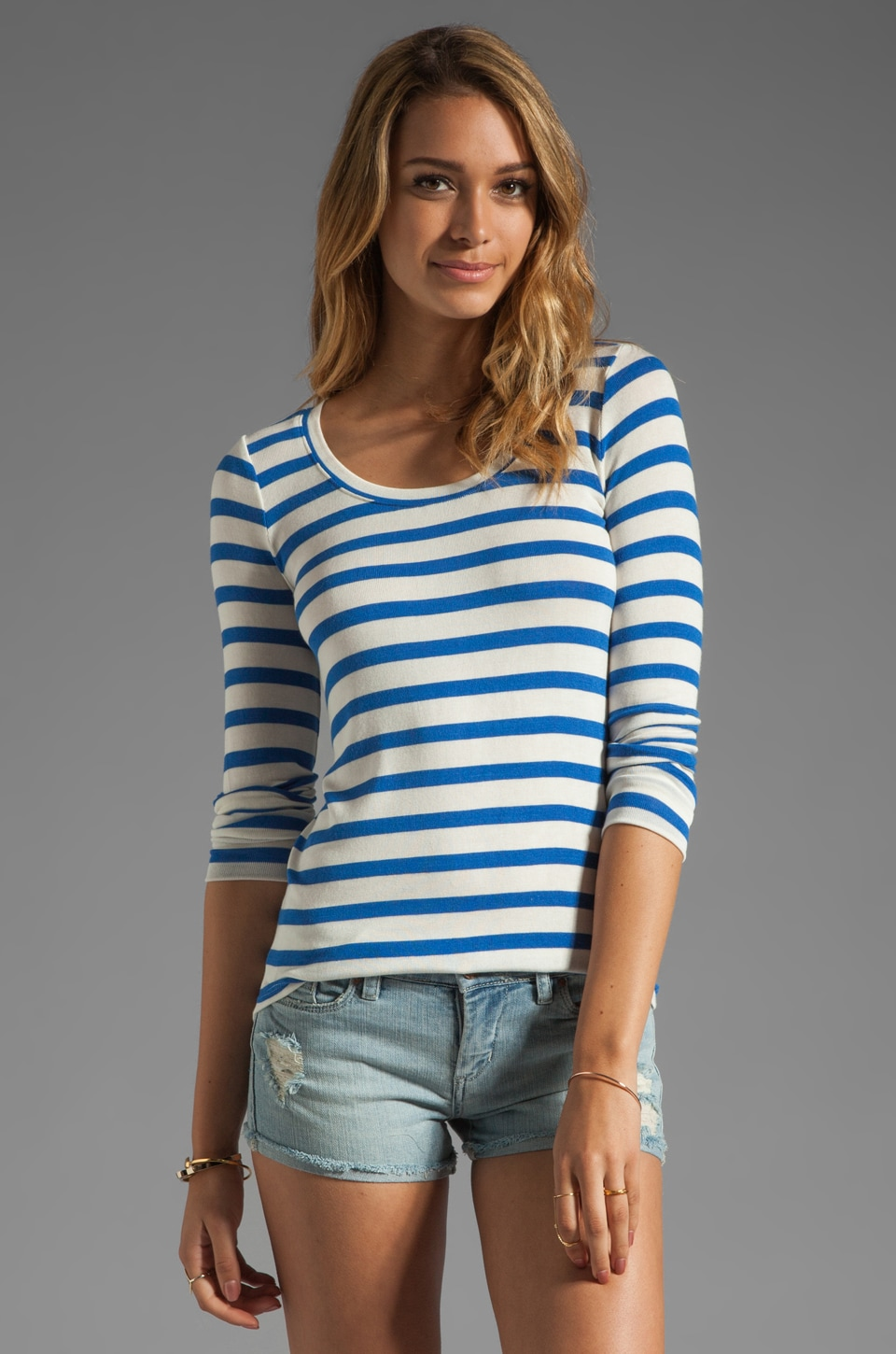Whetherly Rosewood Bateau Stripe Tee in Blue/Creme