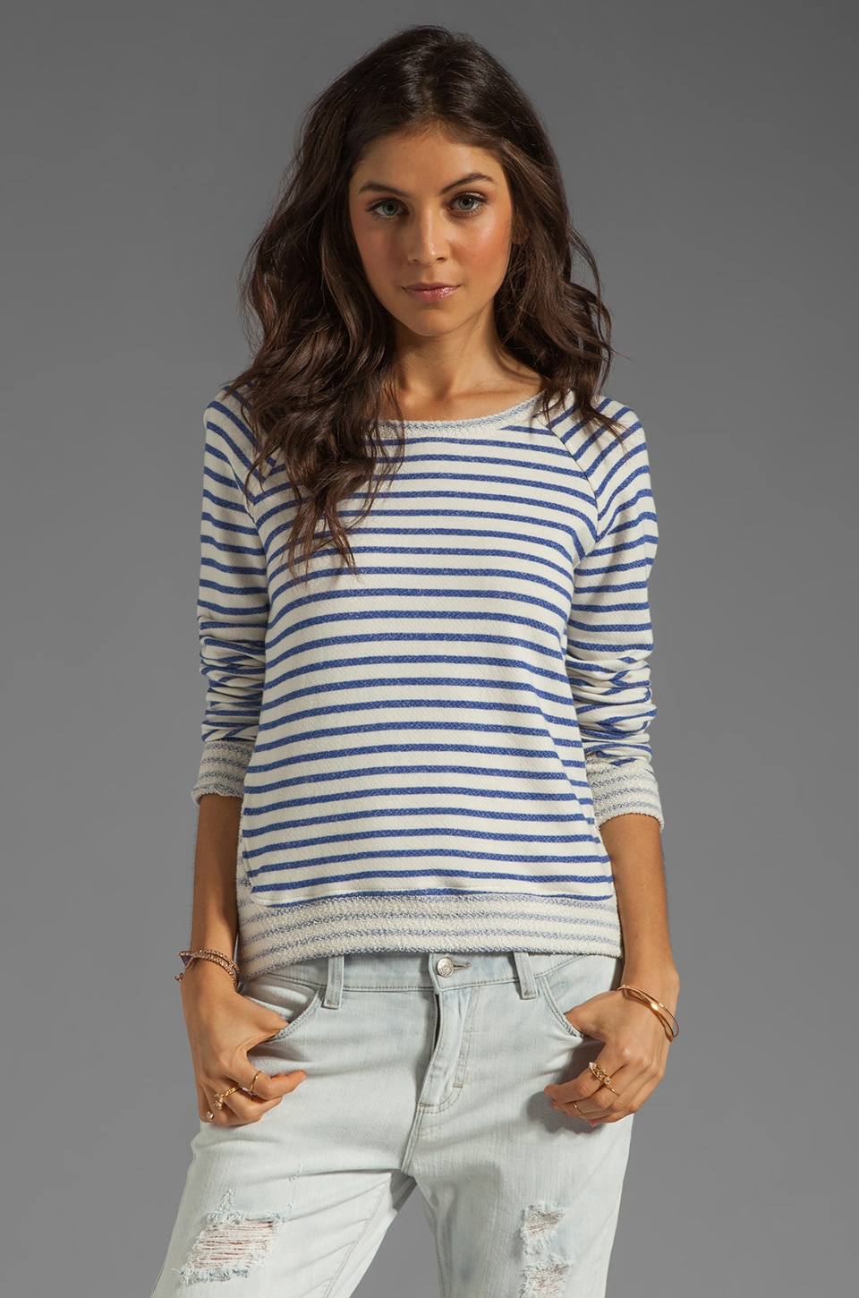Whetherly Liam Nautical French Terry Sweatshirt in Sailor