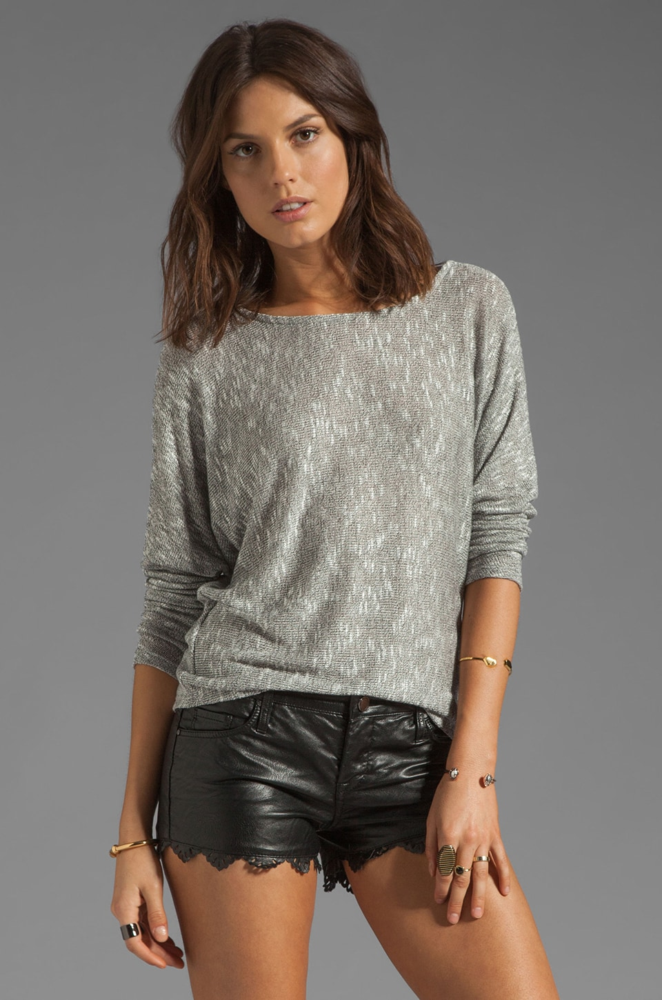 Whetherly Jacqui Sheer Boucle Tee in Black/White