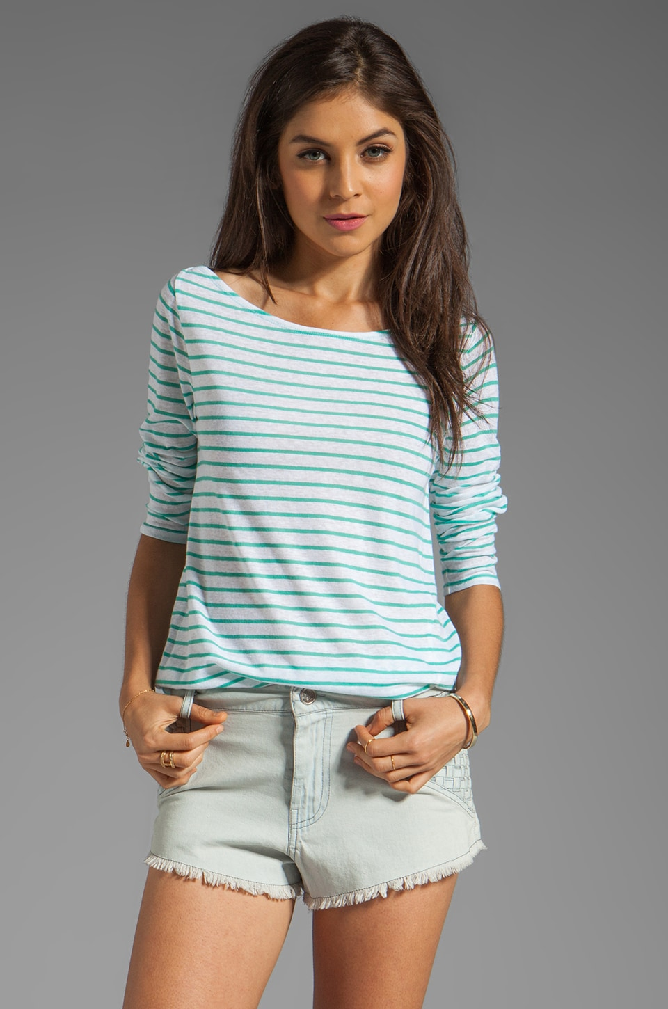 Whetherly Griffin Sheer Stripe Top in Mist/White