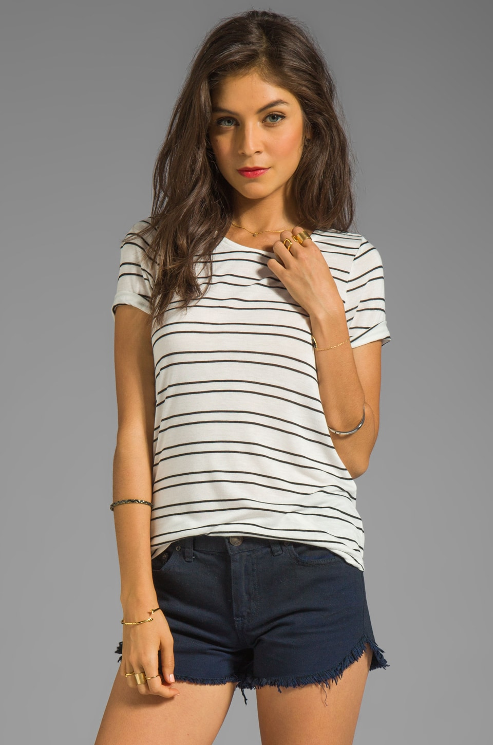 Whetherly Riley Twin Stripe Top in White/Black