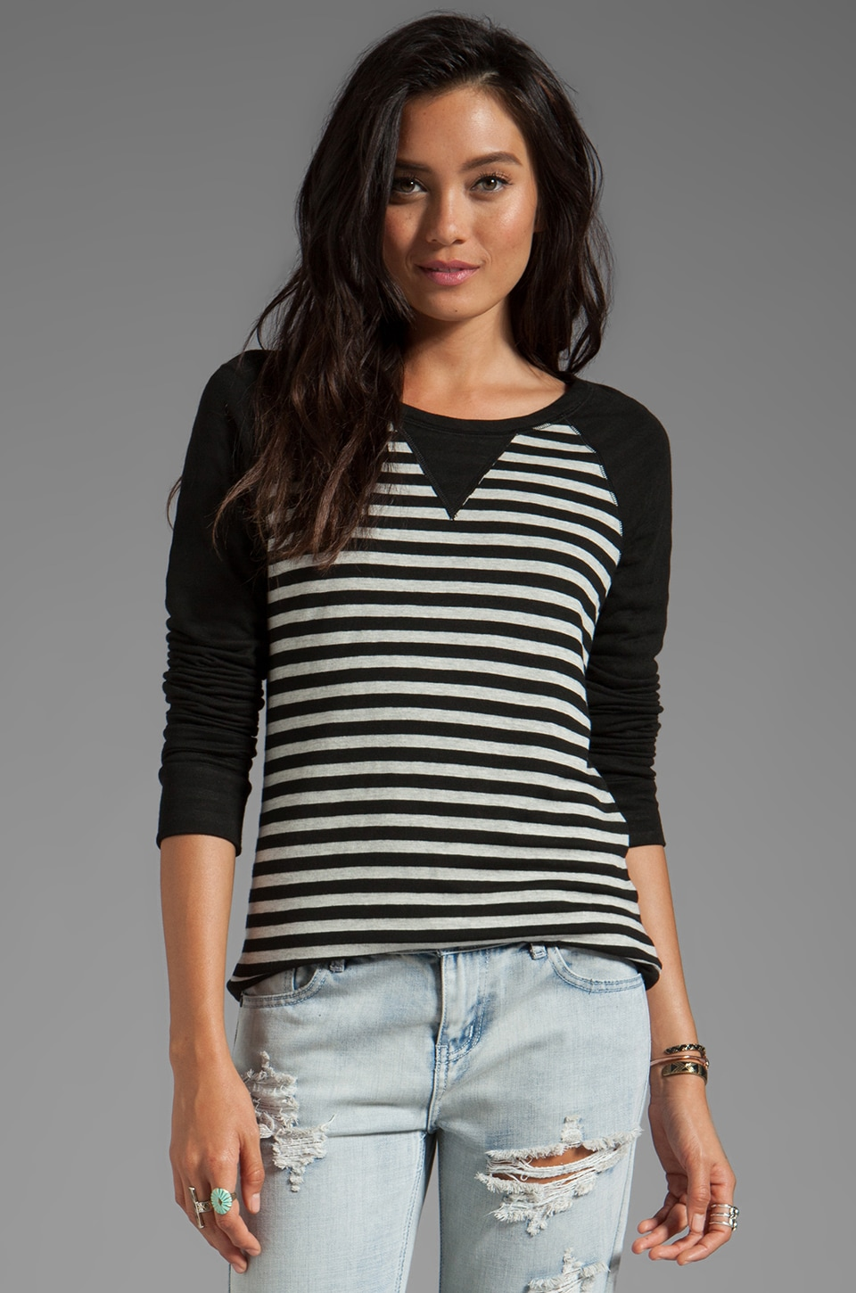 Whetherly Parallel Stripe Hayden Long Sleeve in Black/Heather Grey
