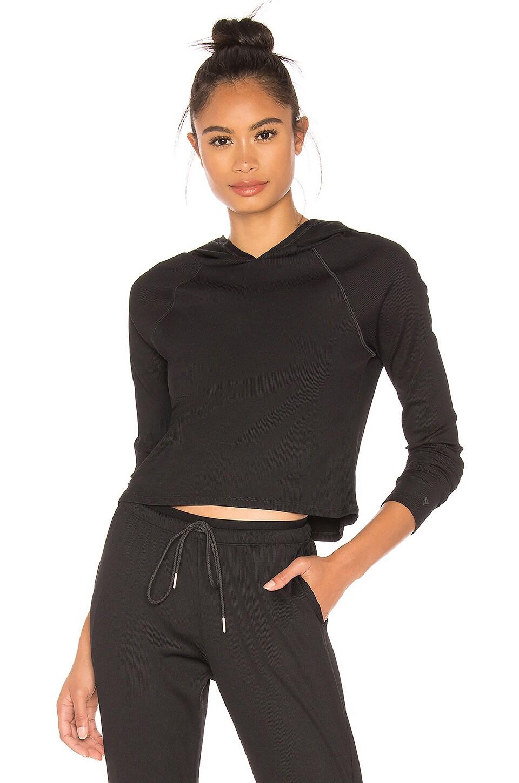 Wear It To Heart Lucky Hooded Long Sleeve Top in Black