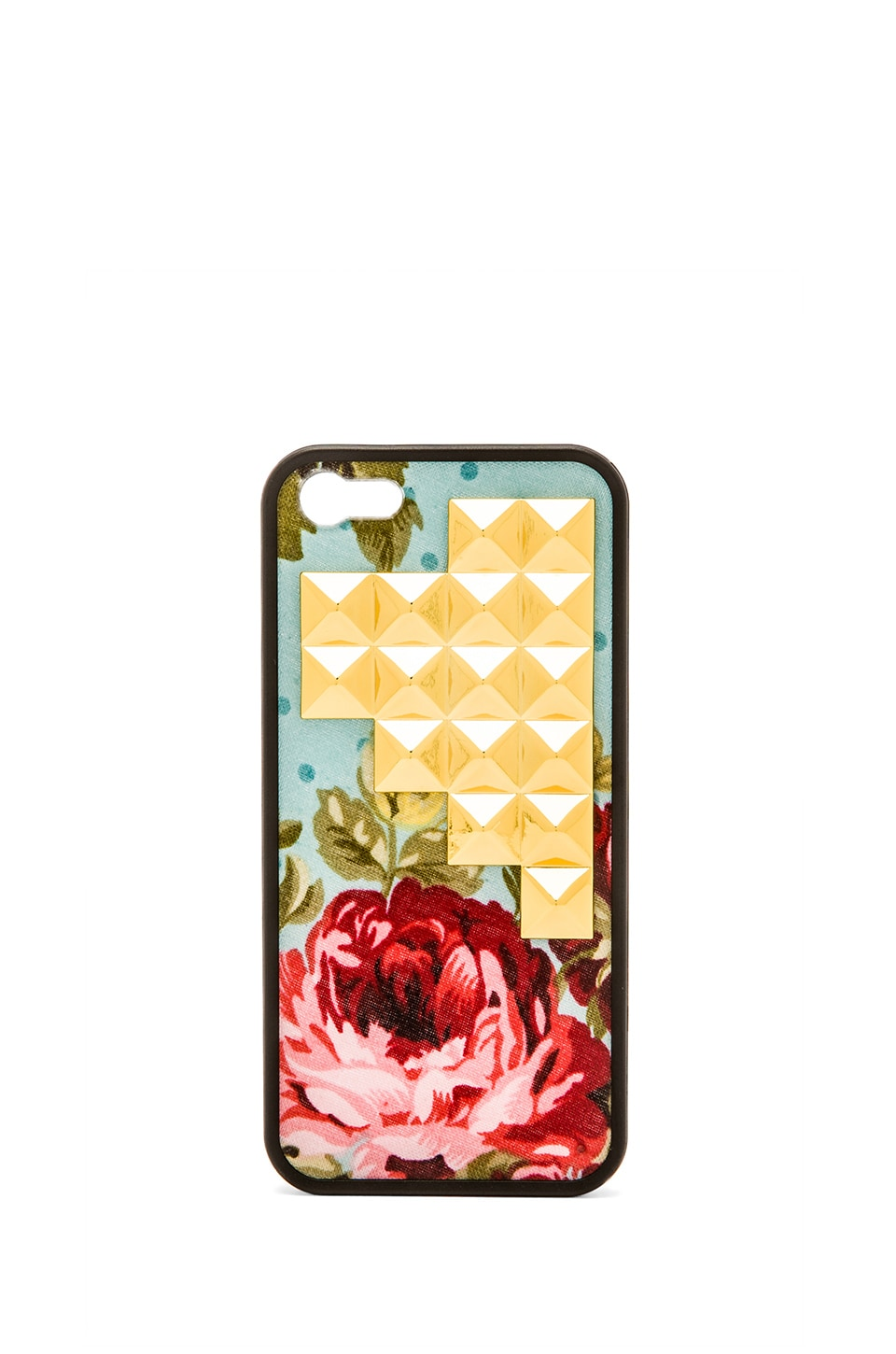 Wildflower Blue Floral Iphone 5/5S Case in Gold Studded Pyramid