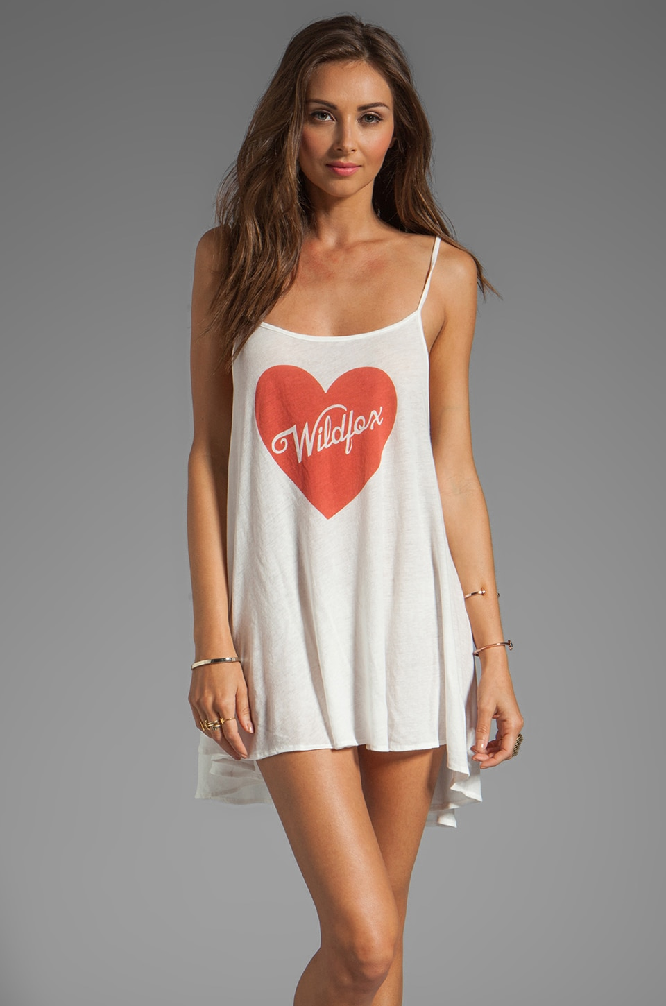 Wildfox Couture Pin Up Heart Bells Beach Dress in Bright Cloud