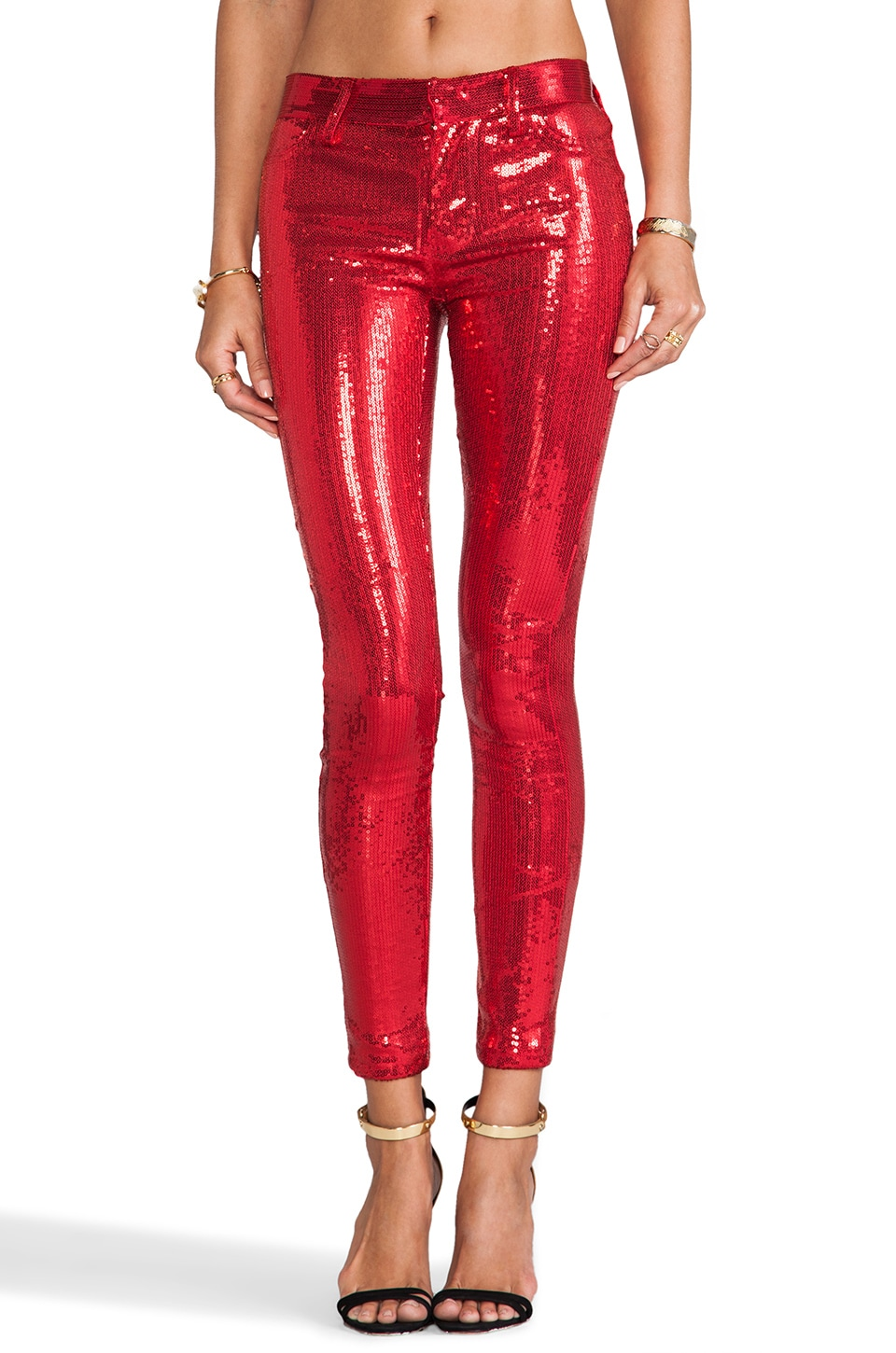 Wildfox Couture Raquel Mid Rise Sequin Skinny in Red