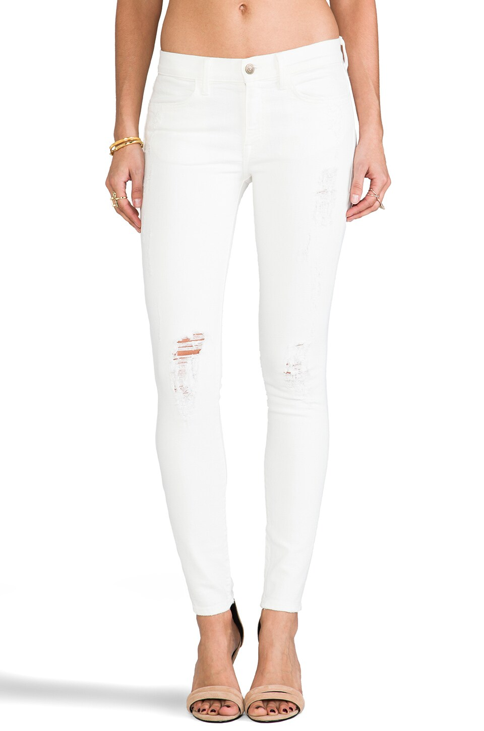 Wildfox Couture Marianne Mid Rise Skinny in White Noise