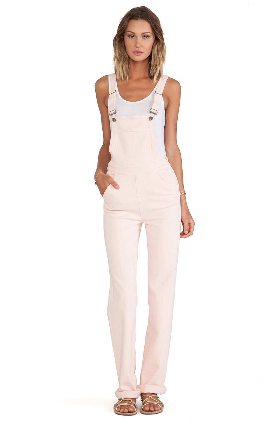Wildfox Couture Ladonna High-Rise Straight Overall in Rose Bud