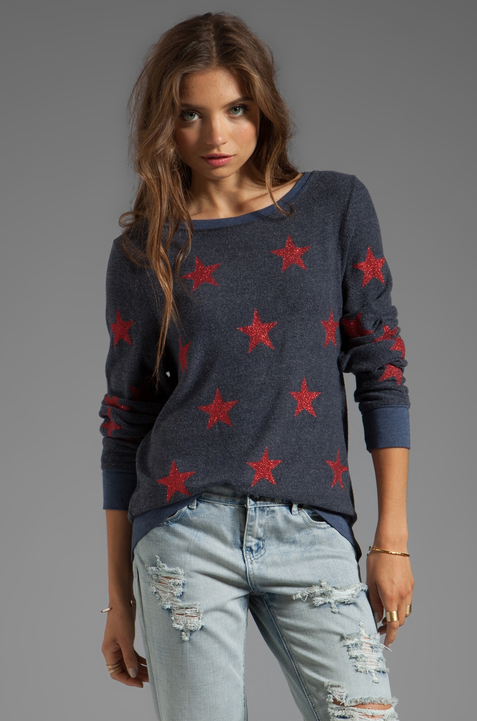 Wildfox Couture Sparkle Starshine Pullover in Hey Sailor
