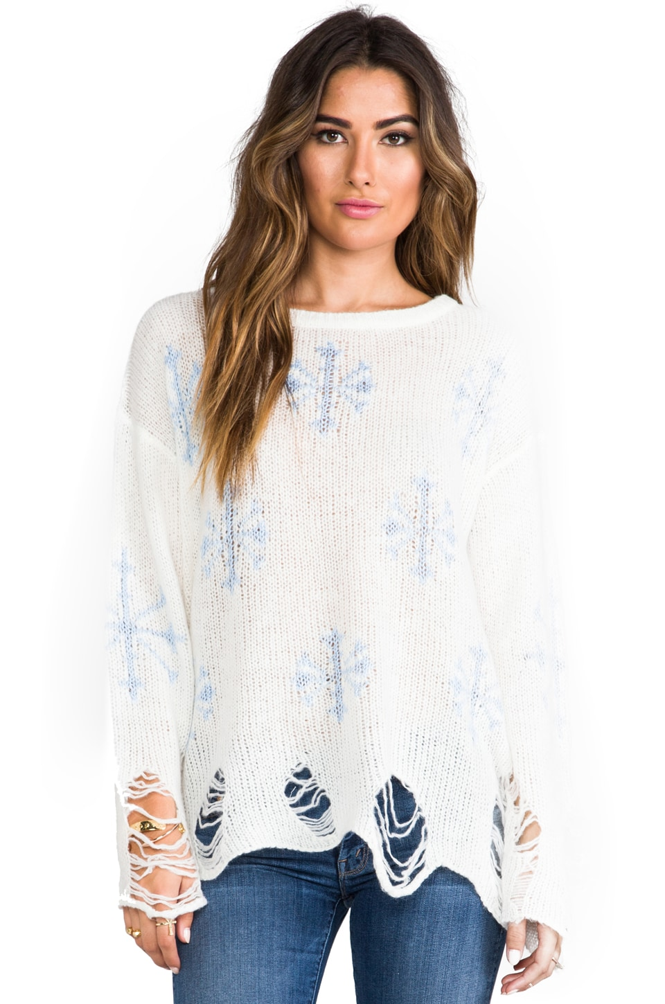 Wildfox Couture Lennon Snowflake Sweater in Clean White