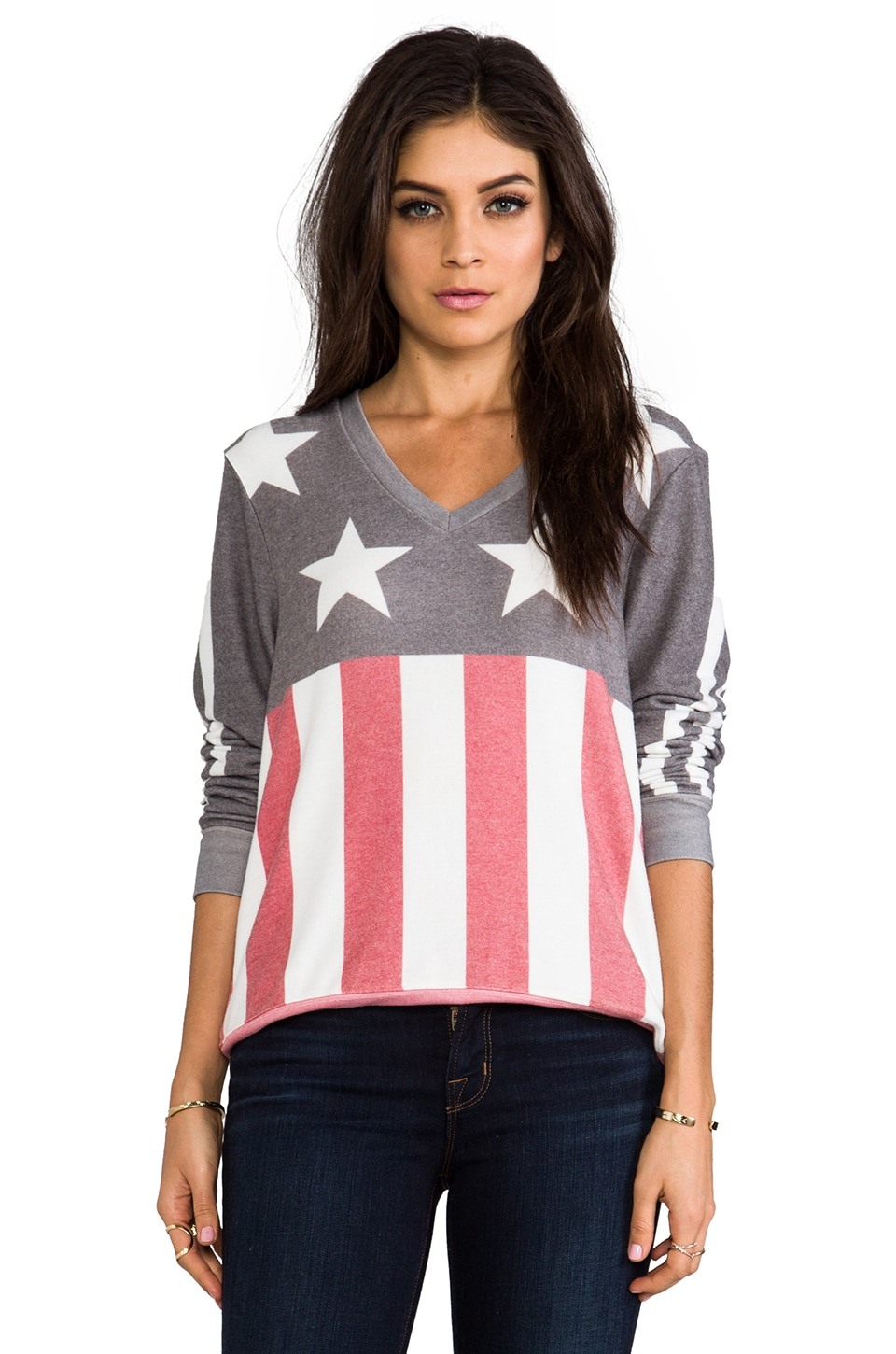 Wildfox Couture Stars and Stripes Baggy Beach V-Neck in Firestone