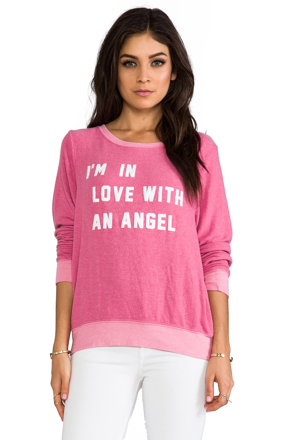 Wildfox Couture In Love with an Angel Baggy Beach Jumper in Roller Pink