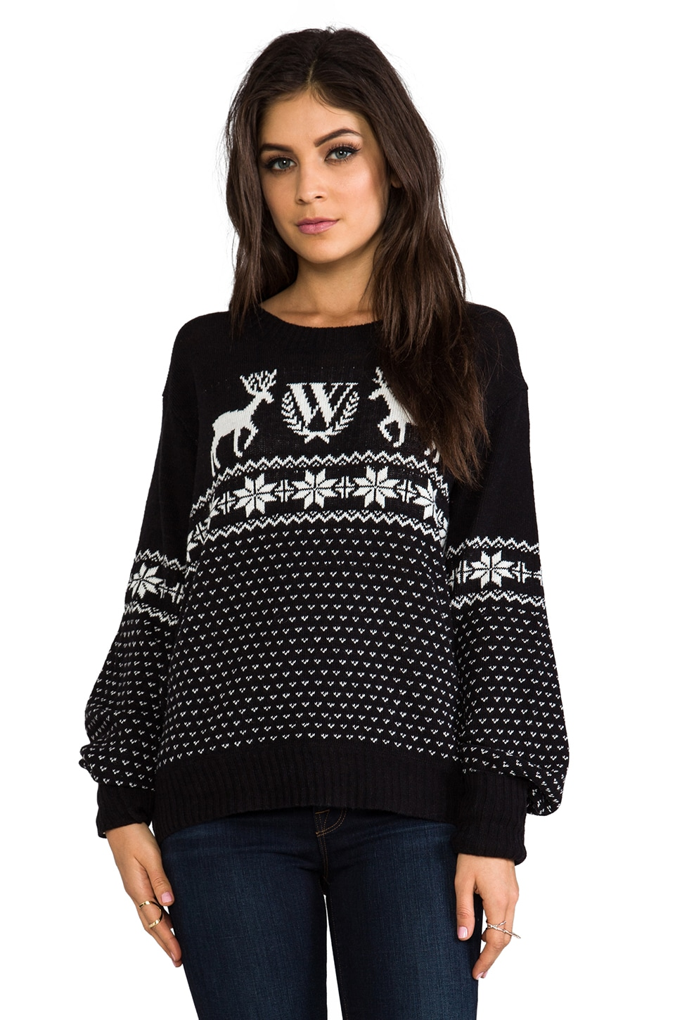 Wildfox Couture Pastel Snow Babe Pullover in Clean Black