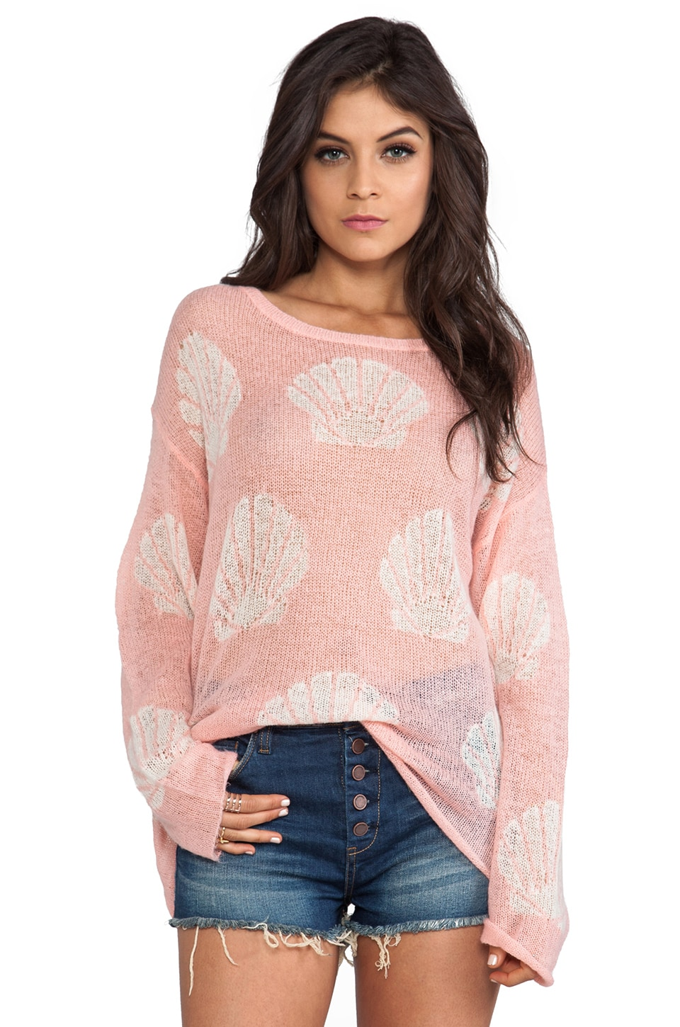 Wildfox Couture Roadie Shell Baby Sweater in Pink