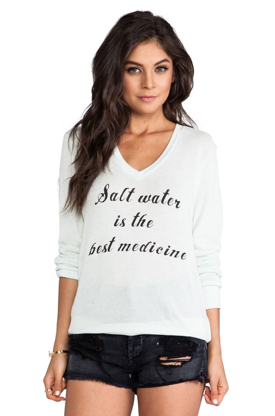 Wildfox Couture Salt Water Baggy Beach V-Neck in Sea Mist