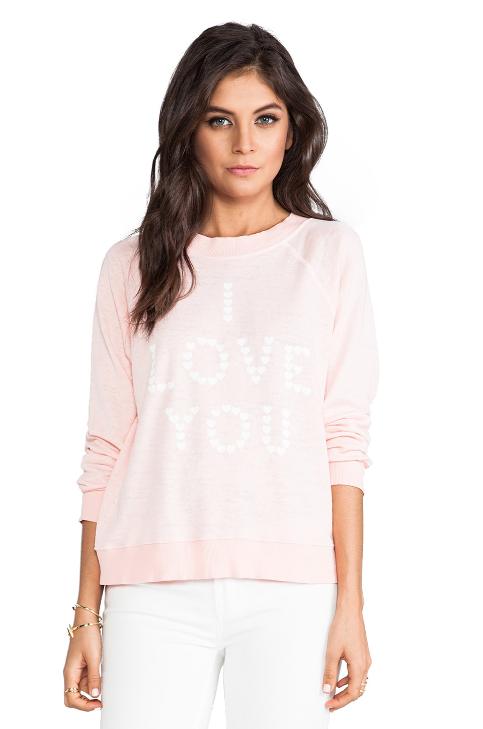 Wildfox Couture Little Heart Spell Kims Sweater in Peaches