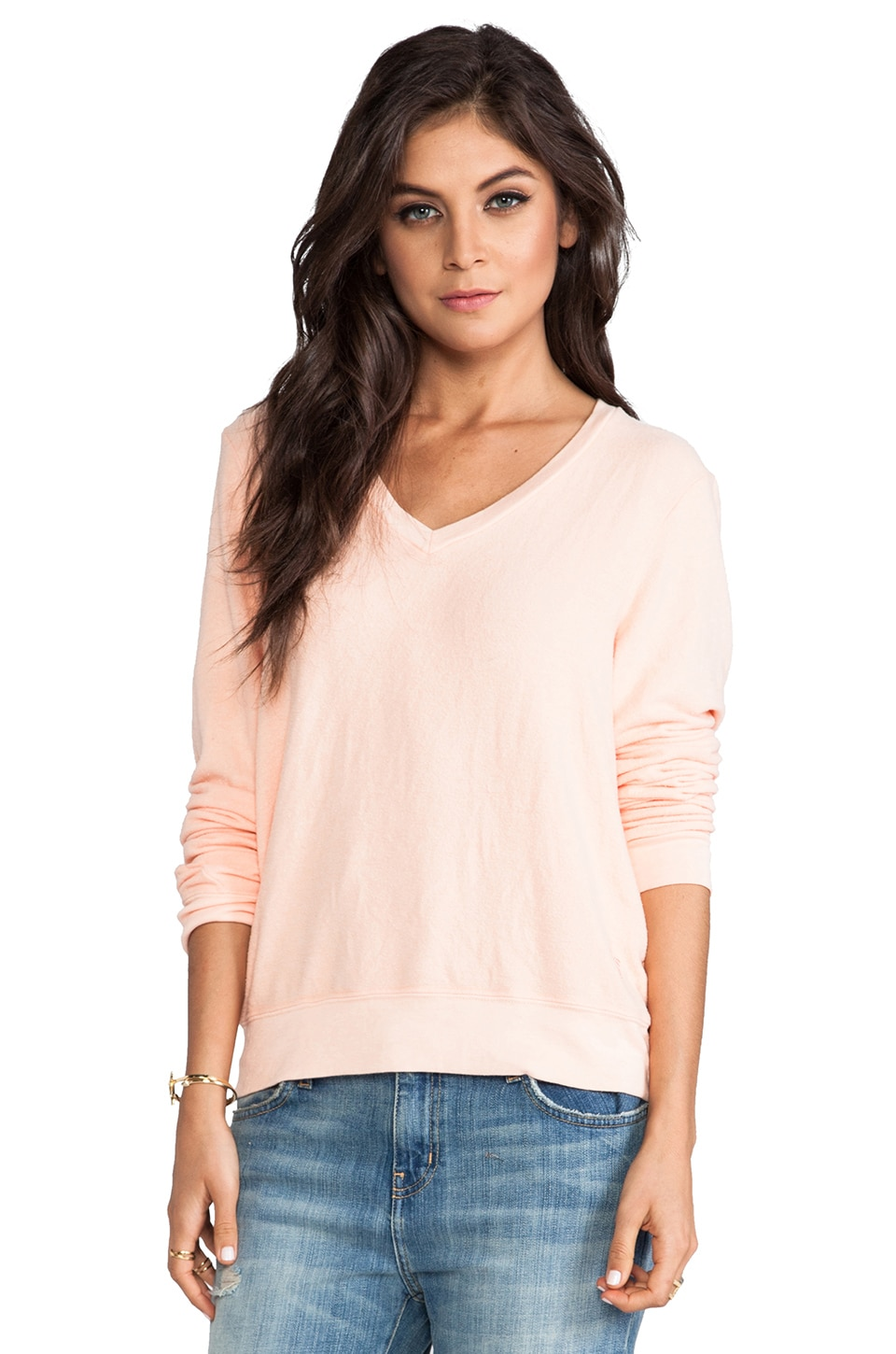 Wildfox Couture V-Neck Baggy Beach Jumper in Coral Shell