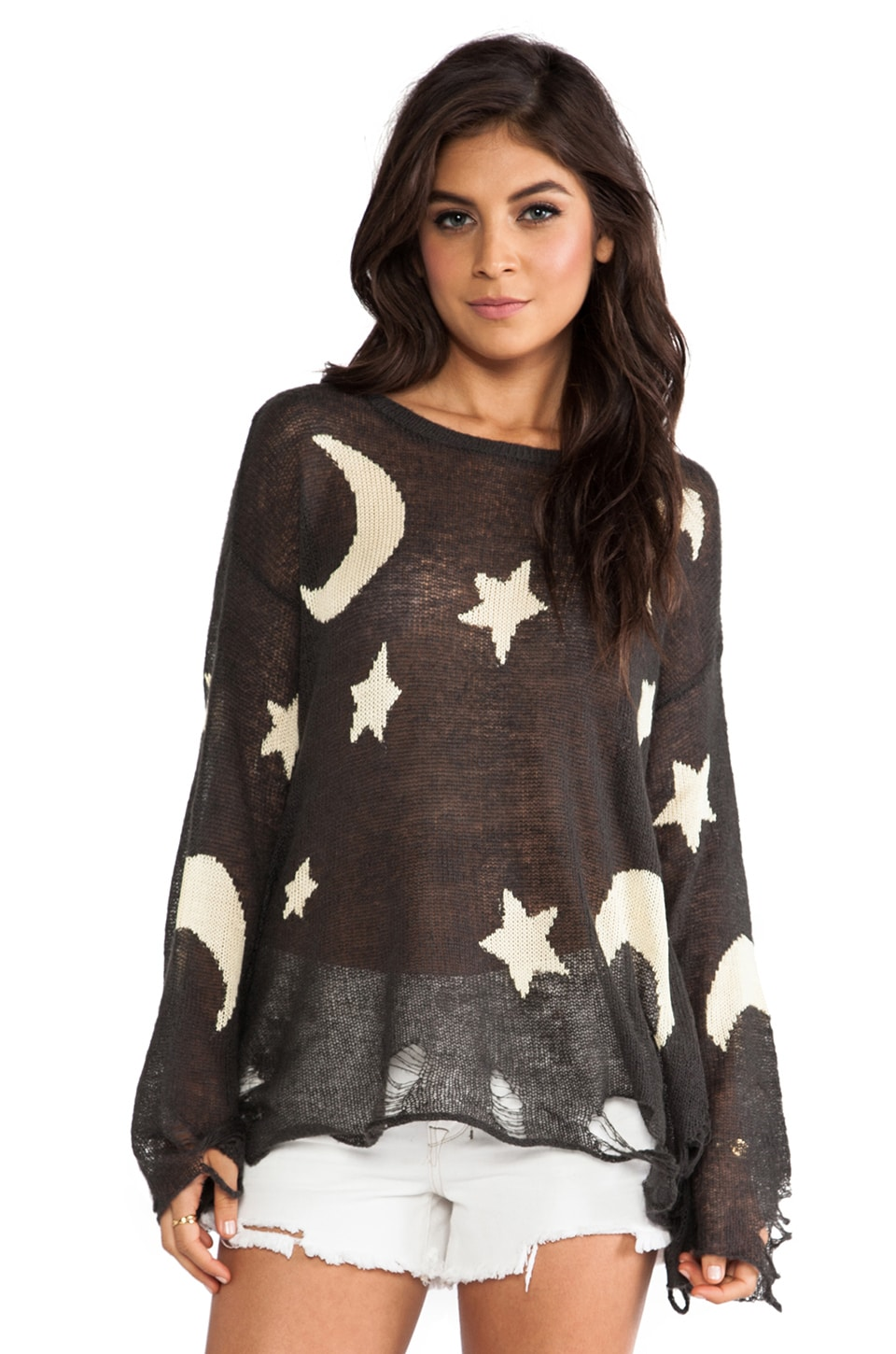 Wildfox Couture Lenon Night Owl Sweater in Dirty Black