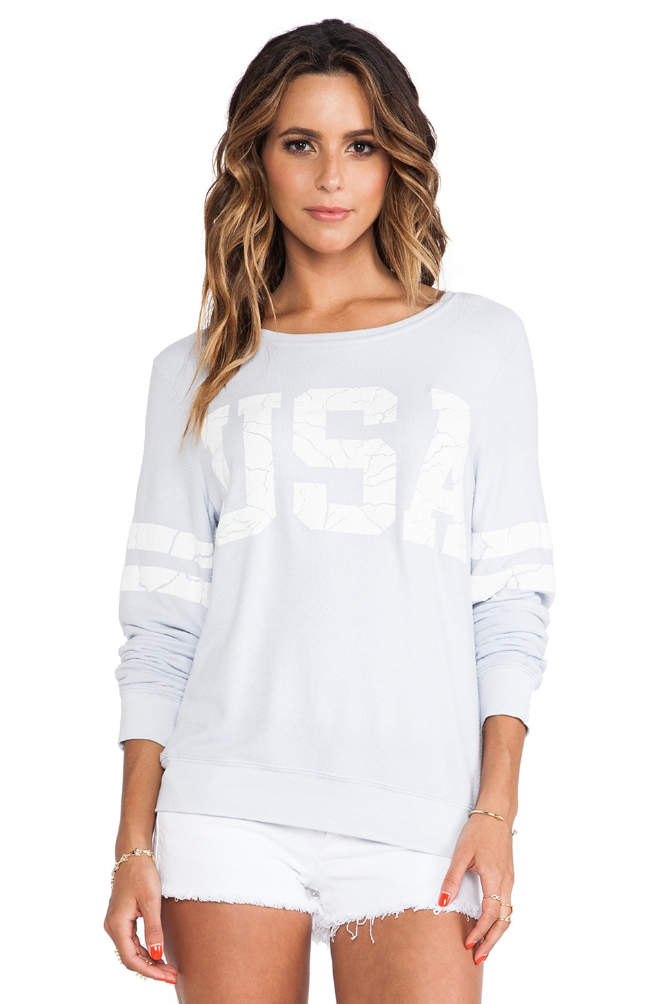 Wildfox Couture Team USA Baggy Beach Jumper in Ghost Blue