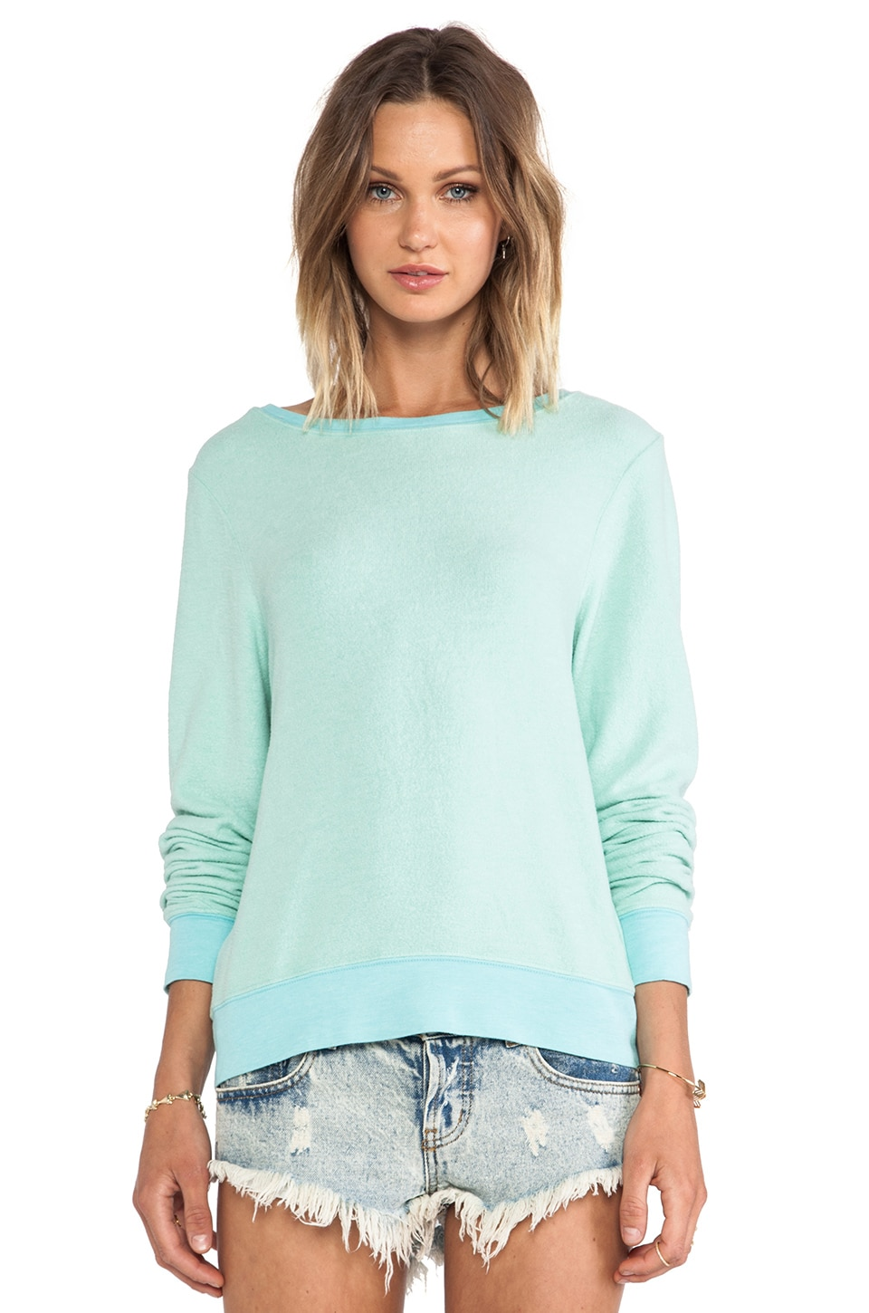 Wildfox Couture Basic Pullover in Aqua Sky