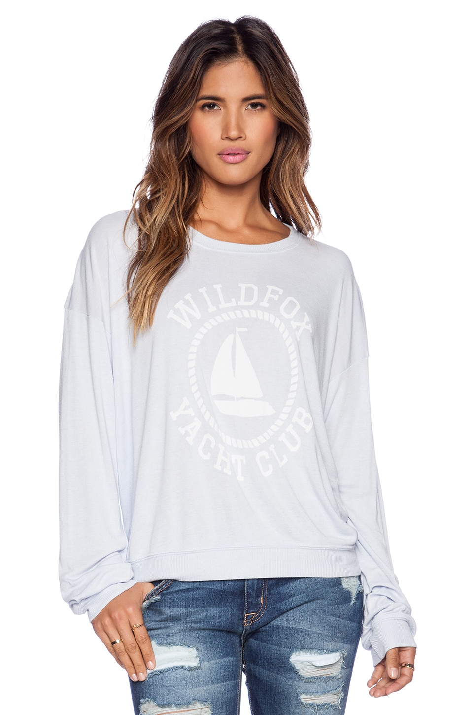 Wildfox Couture Sail On Over Sized Pullover in Ghost Blue