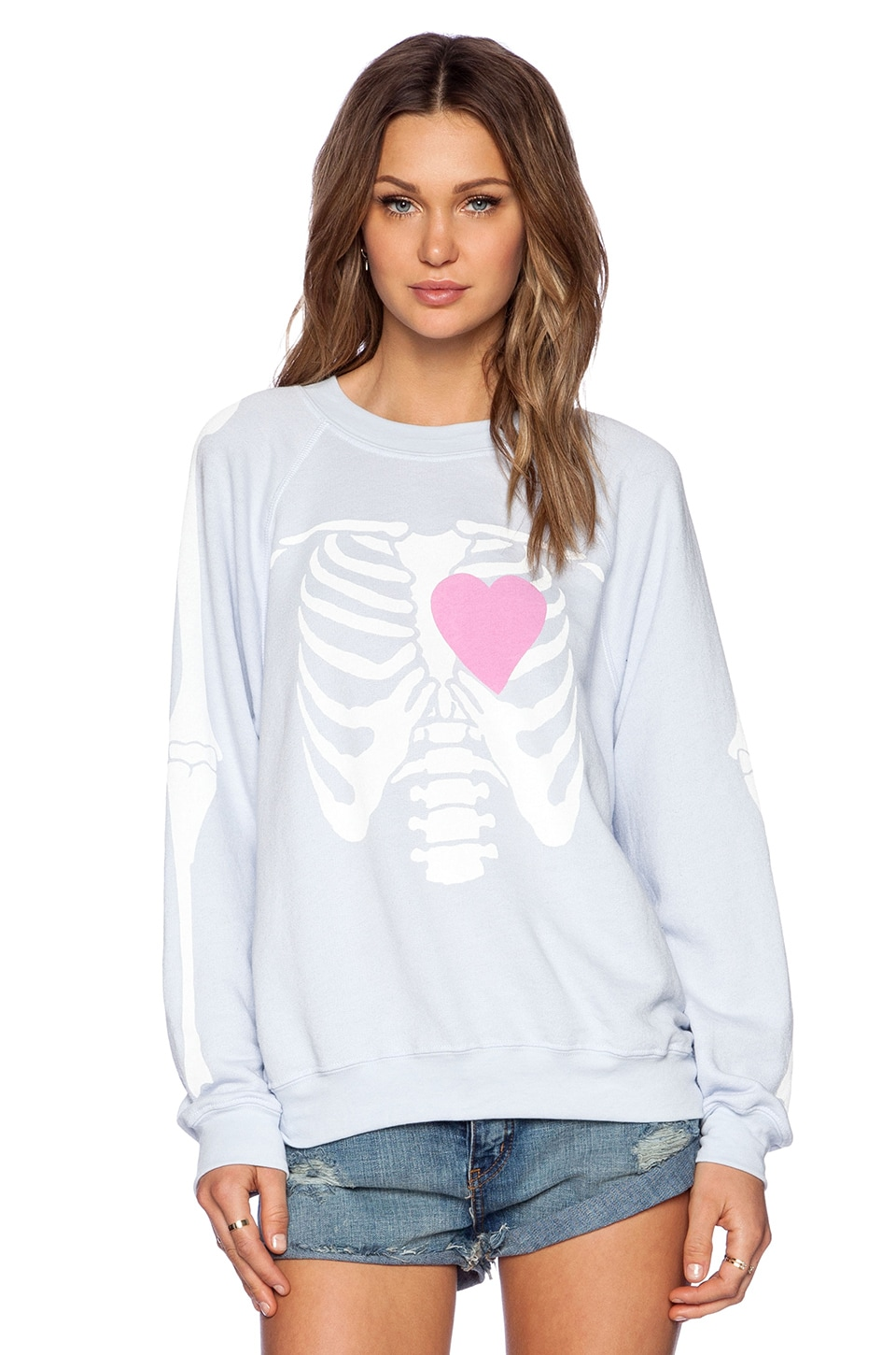 Wildfox Couture My Beating Heart Kims Sweater in Ghost Blue