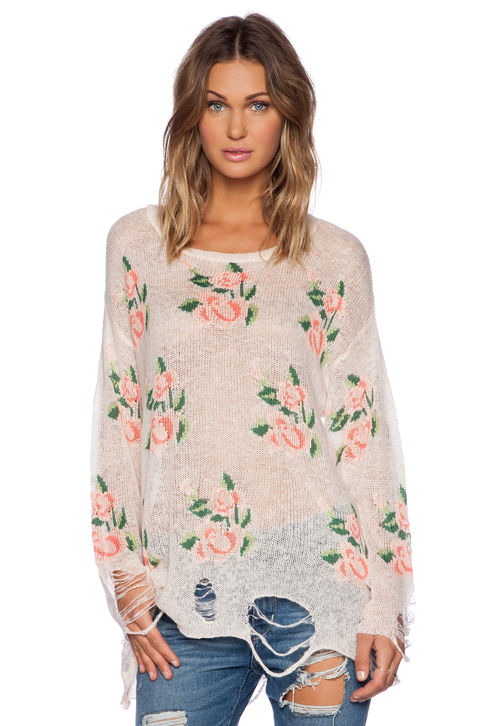 Wildfox Couture Prairie Rose Sweater in Georgia Peach