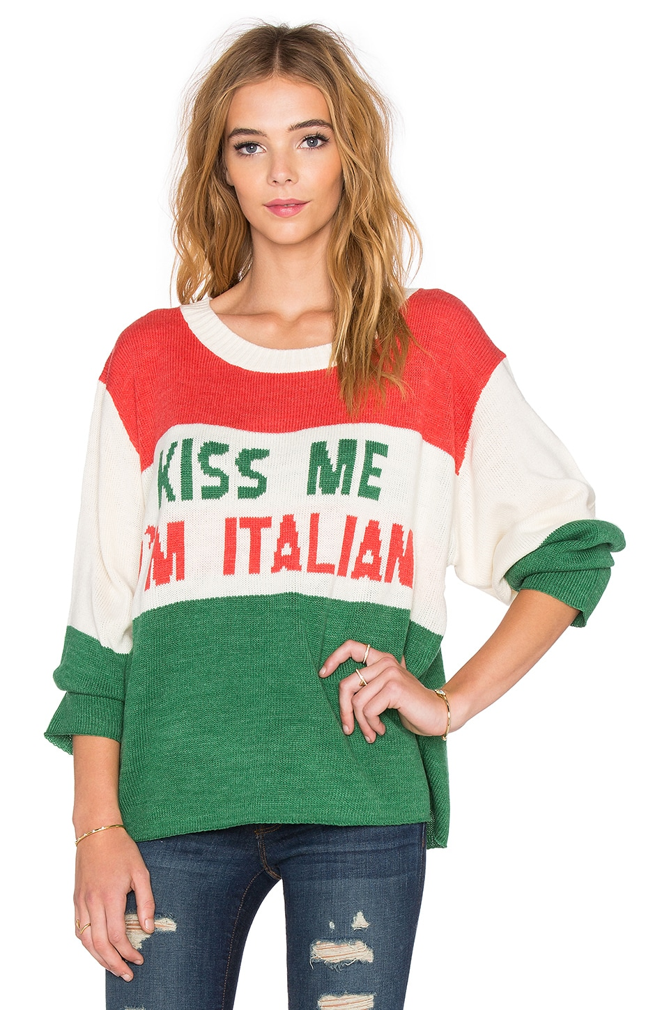 Wildfox Couture Kiss Me I'm Italian Sweater in Vintage Lace | REVOLVE