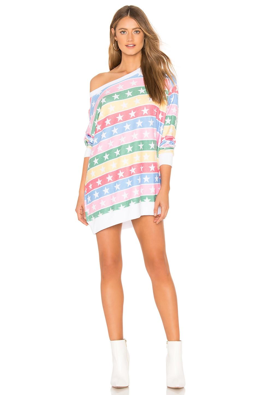 Wildfox Couture Stellar Stripe Roadtrip Sweater in Multi & Clean White