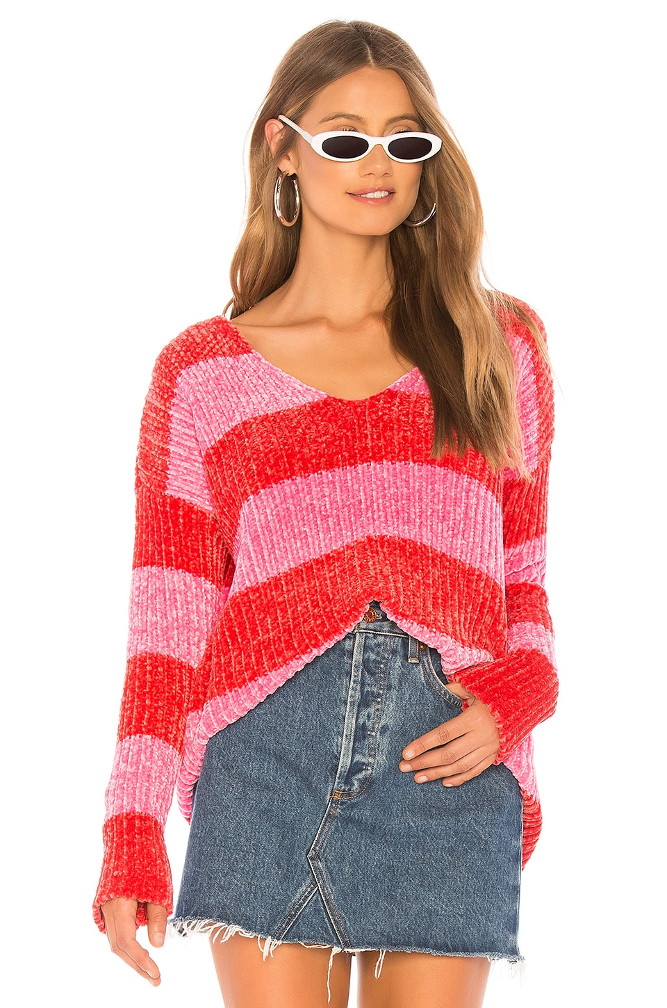 Wildfox Couture Shine Clark Sweater in Red & Neon Magenta