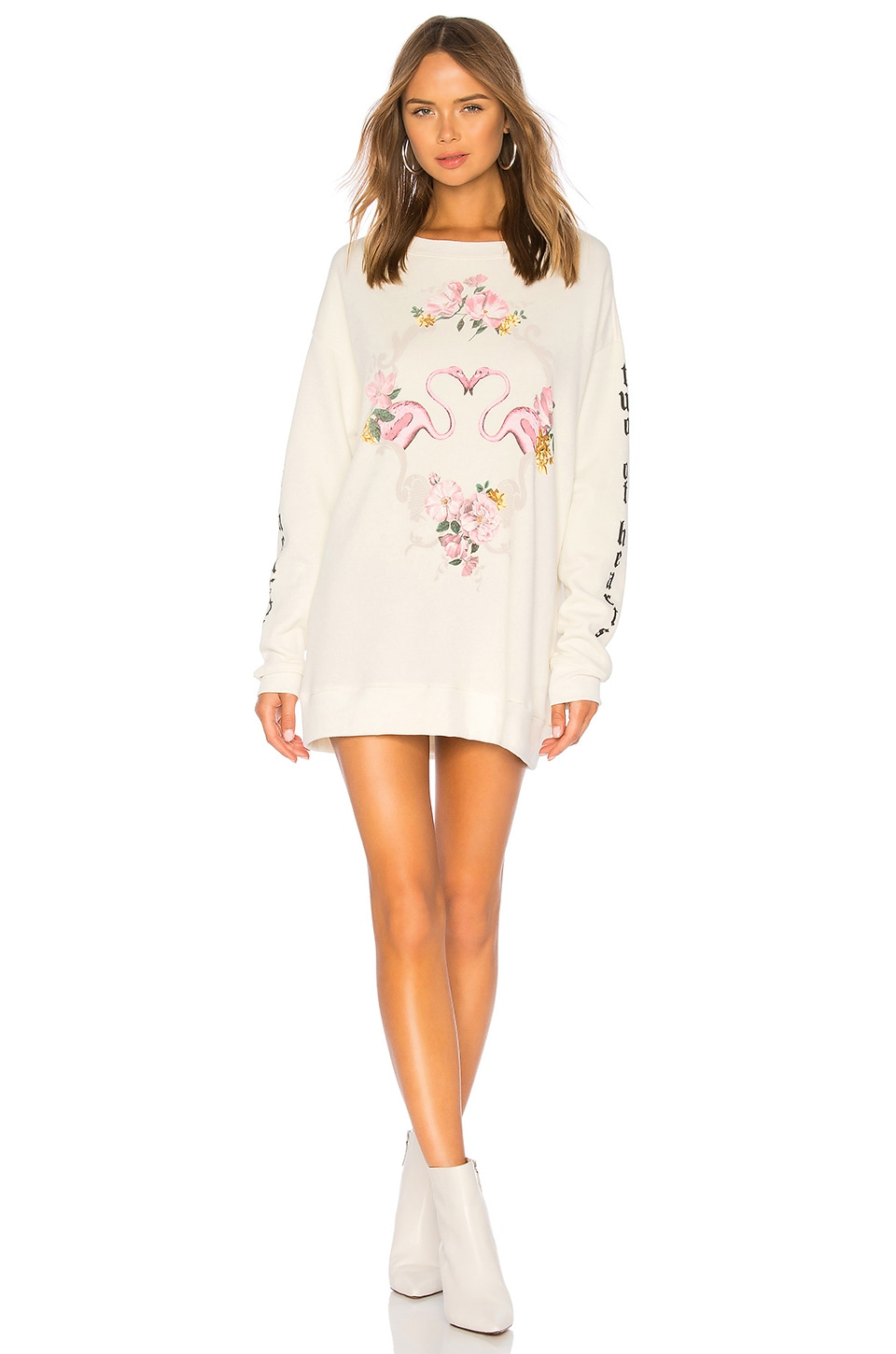 WILDFOX COUTURE Two Of Hearts Roadtrip Sweatshirt in Cream