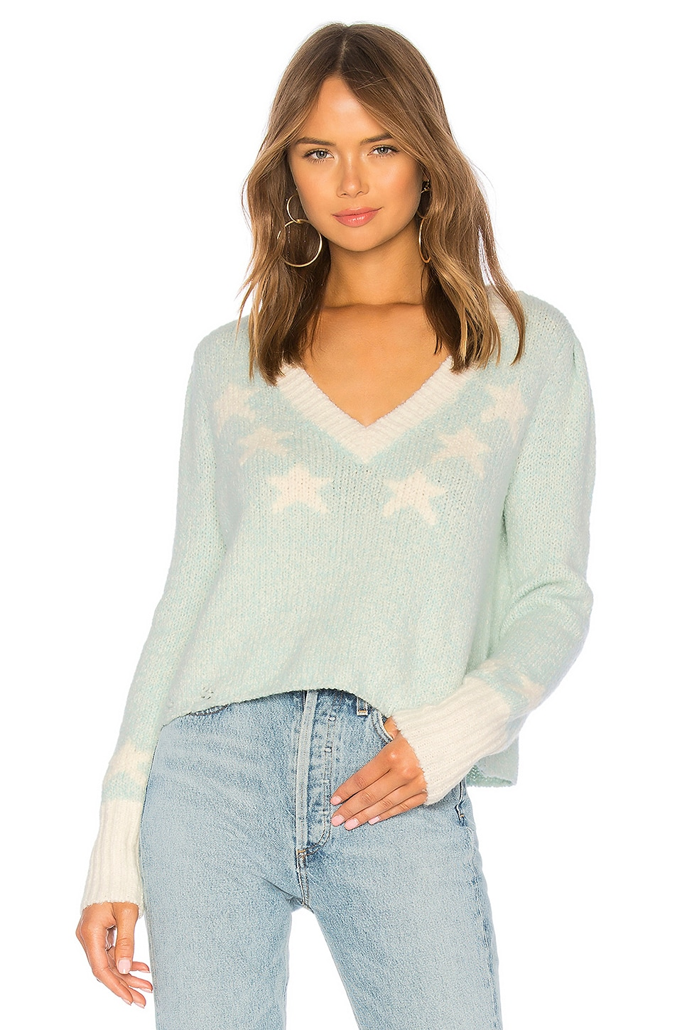WILDFOX COUTURE Star Girl Ace Sweater in Teal